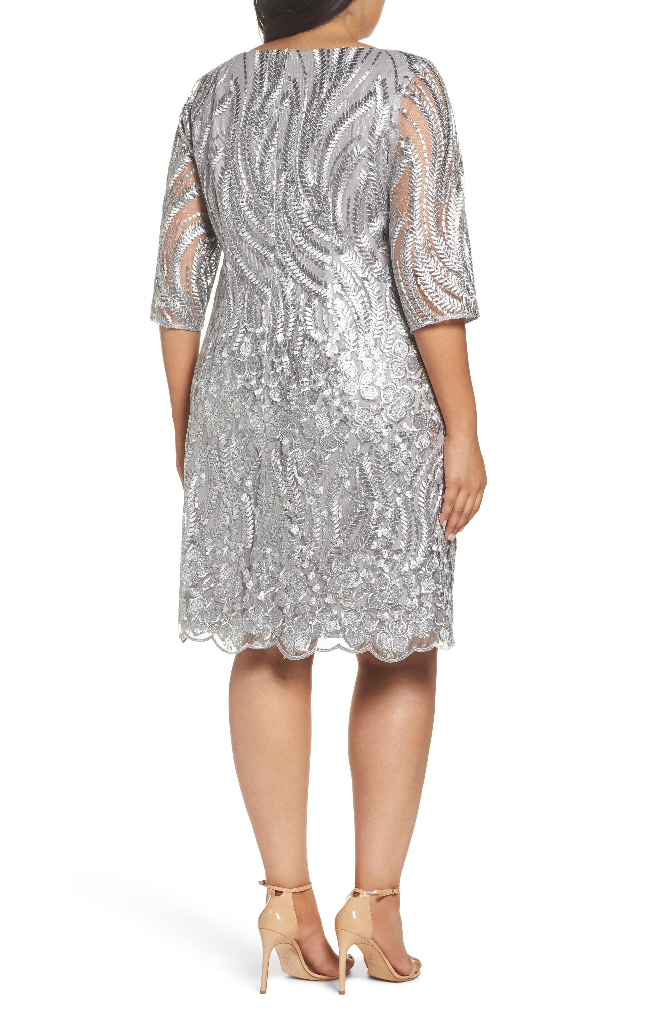 Sequin Embroidered Lace Sheath Dress,                             Alternate thumbnail 2, color,                             020