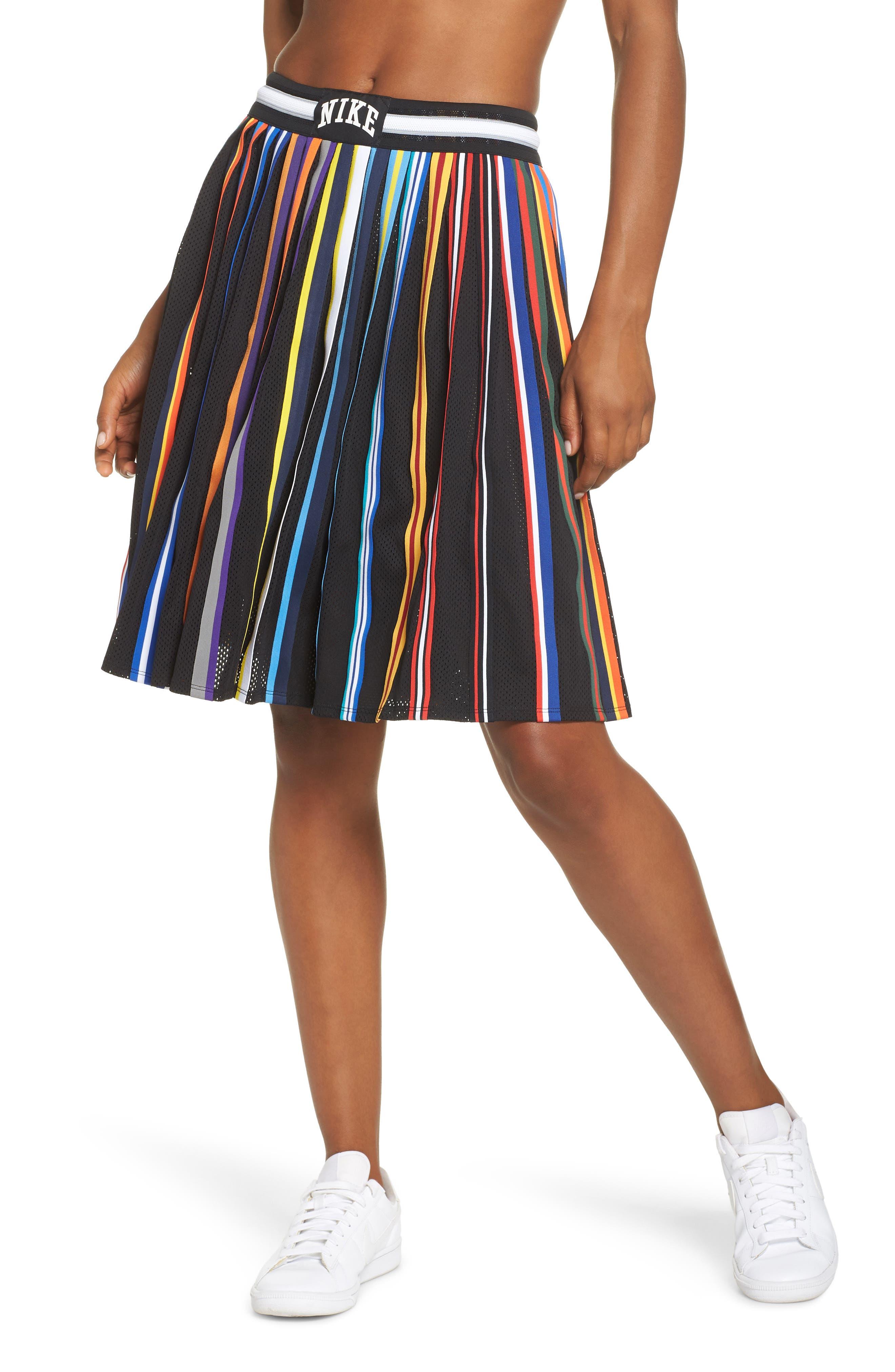 NikeLab Basketball Stripe Skirt,                             Main thumbnail 1, color,                             BLACK