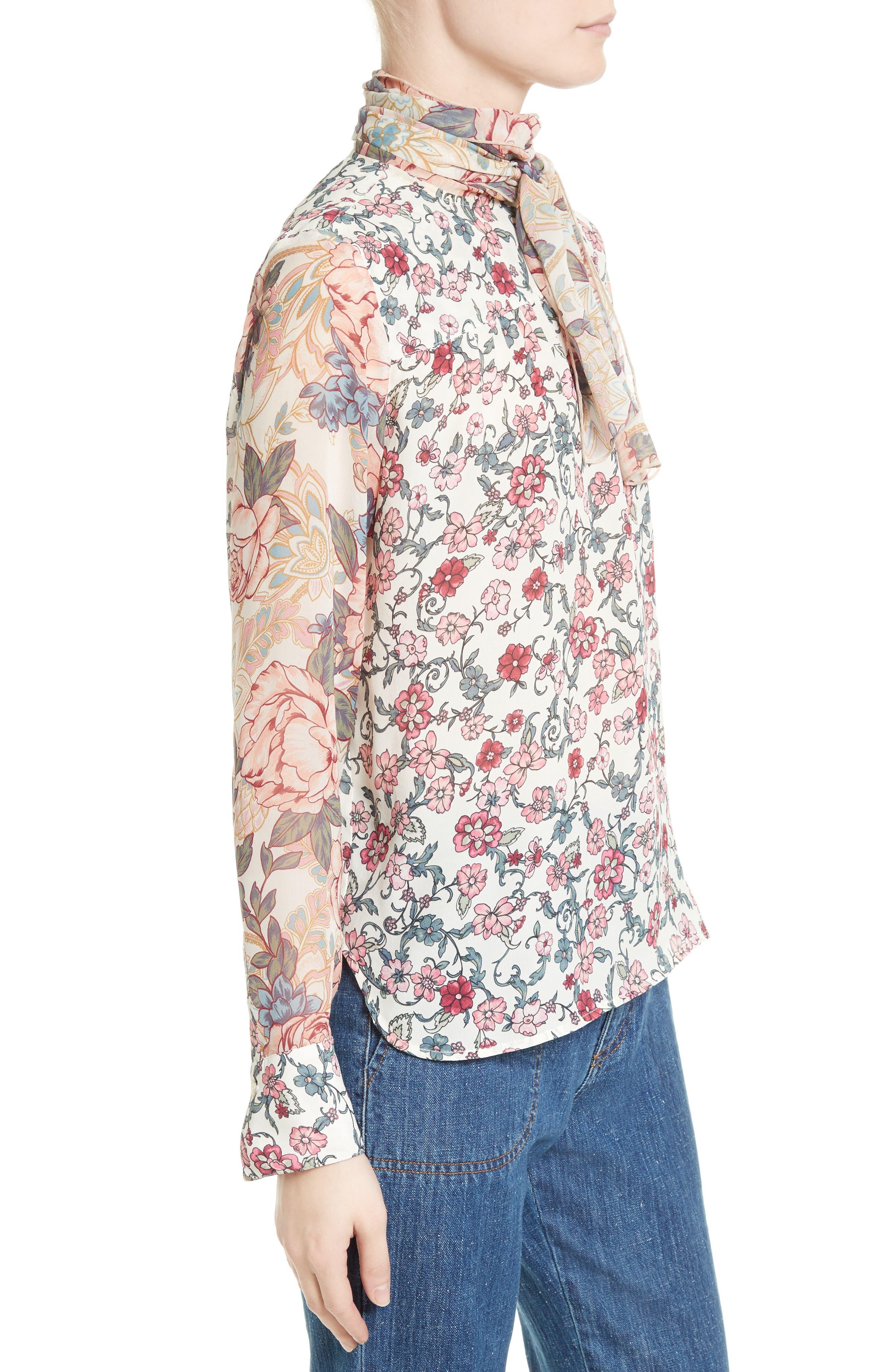 Floral Tie Neck Blouse,                             Alternate thumbnail 3, color,                             650