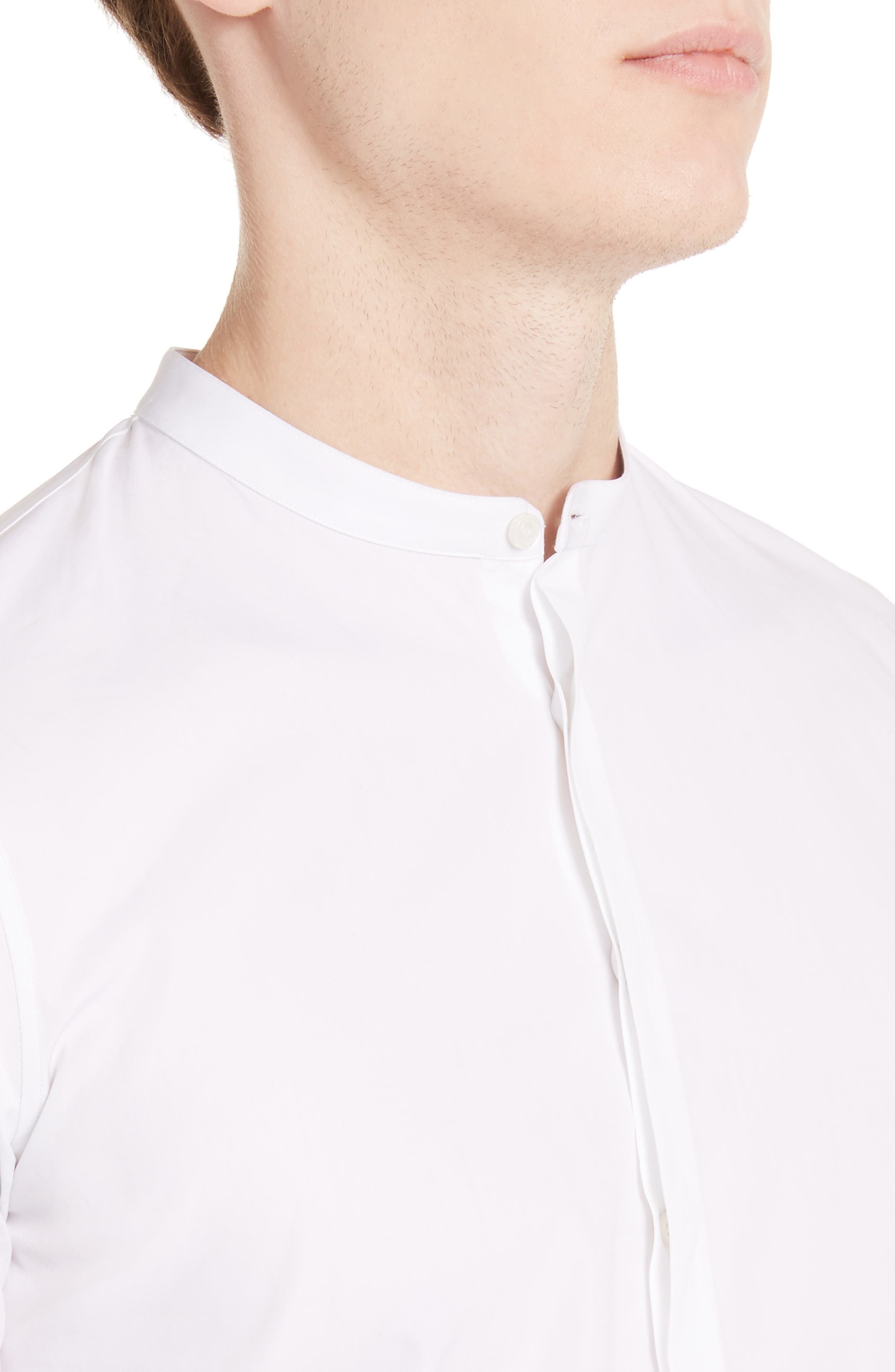 Band Collar Poplin Shirt,                             Alternate thumbnail 4, color,                             100