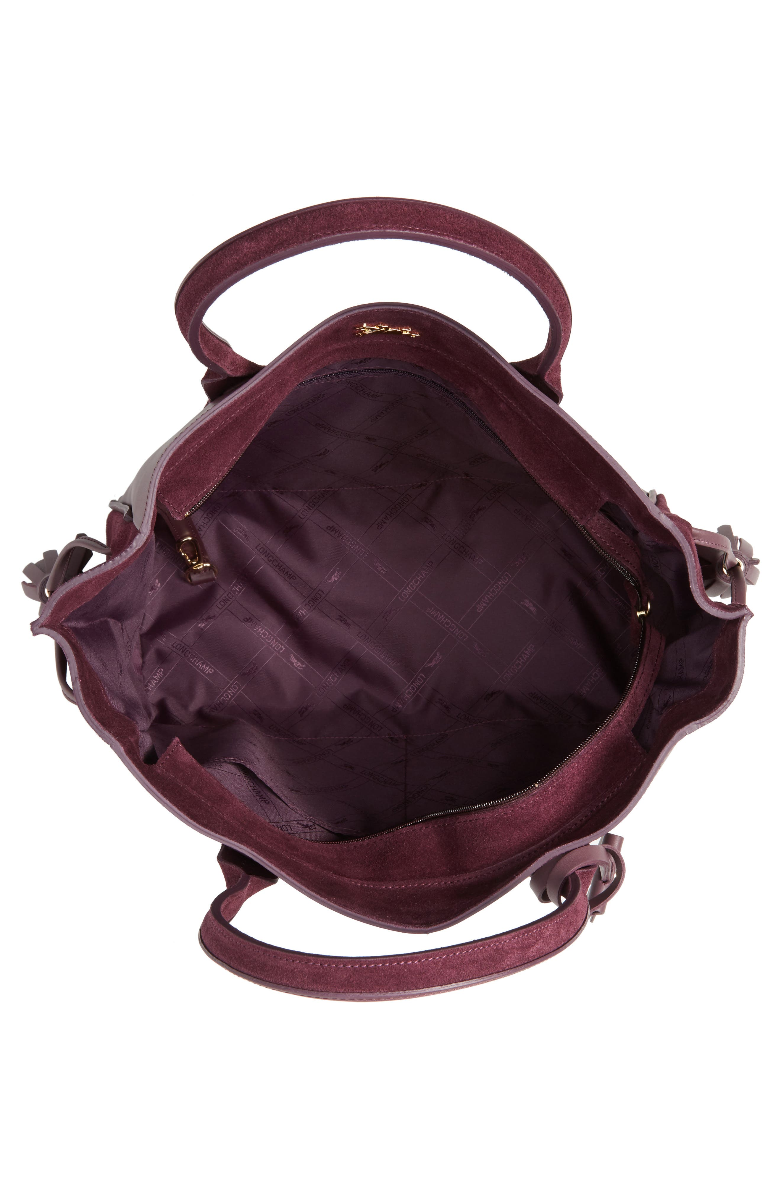 Penelope Leather & Suede Top Handle Tote,                             Alternate thumbnail 4, color,                             500
