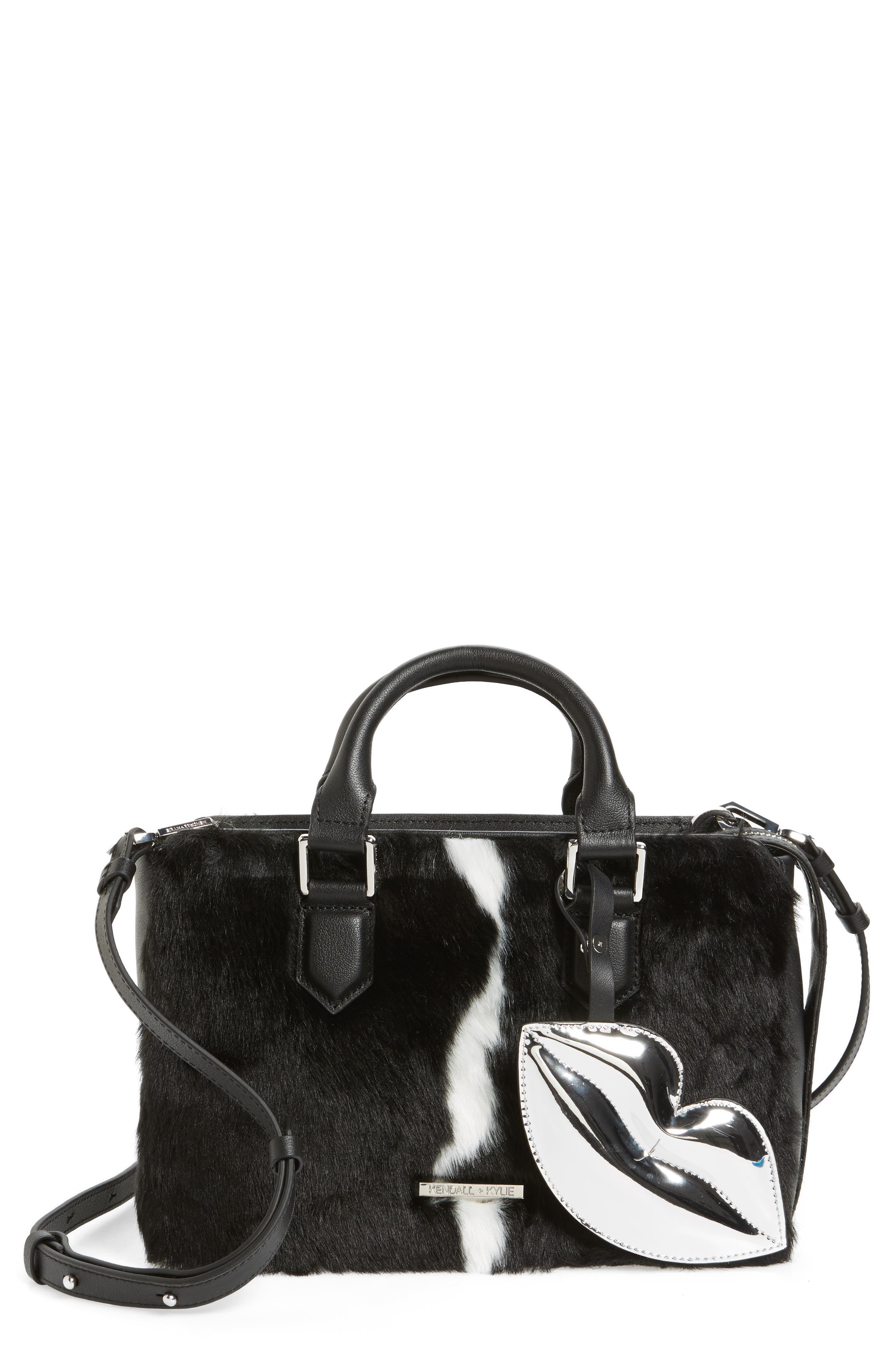 Claire Faux Fur & Leather Satchel,                         Main,                         color, 001