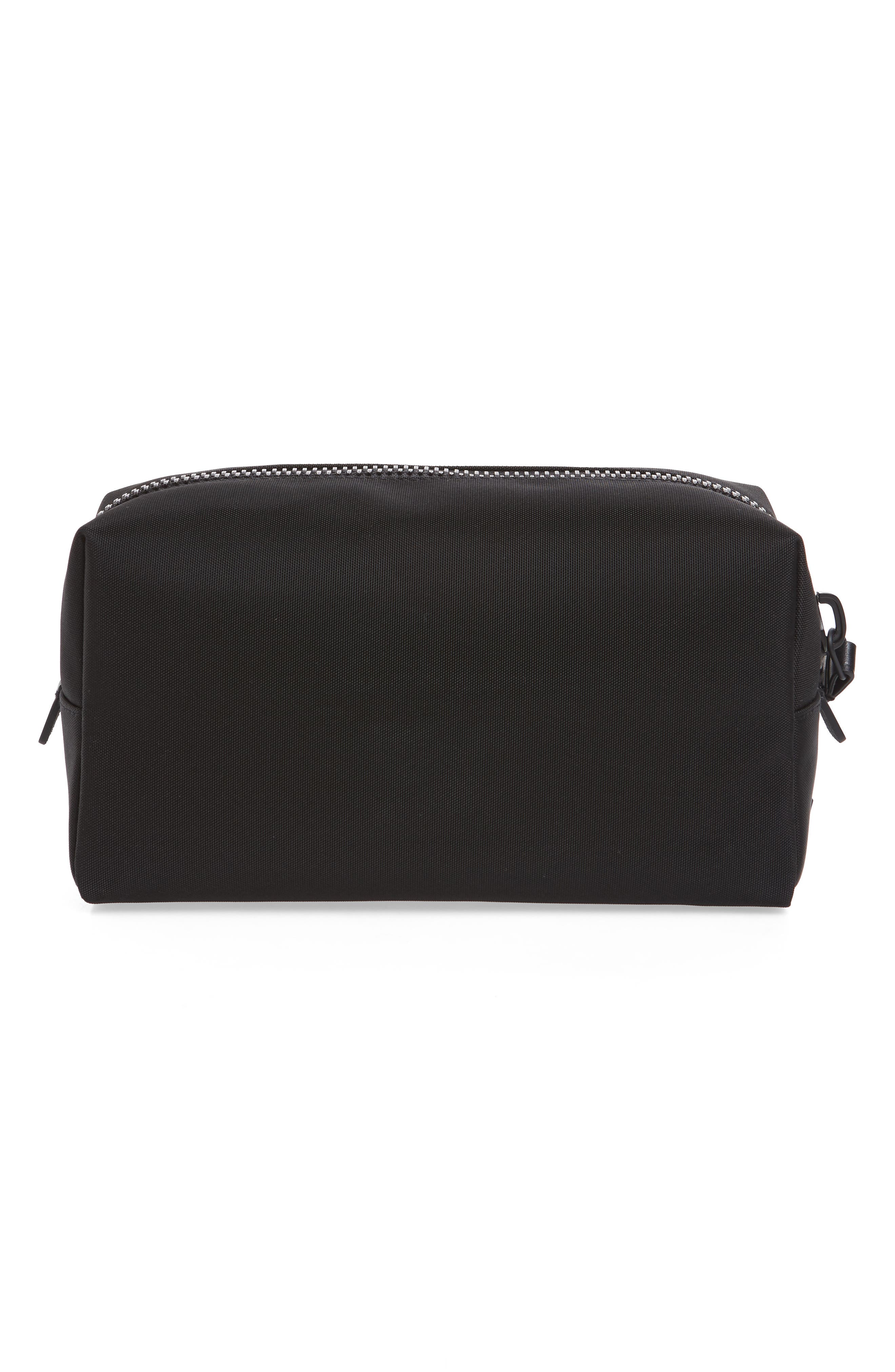 Nylon Dopp Kit,                             Alternate thumbnail 3, color,                             BLACK NYLON/ BLACK LEATHER