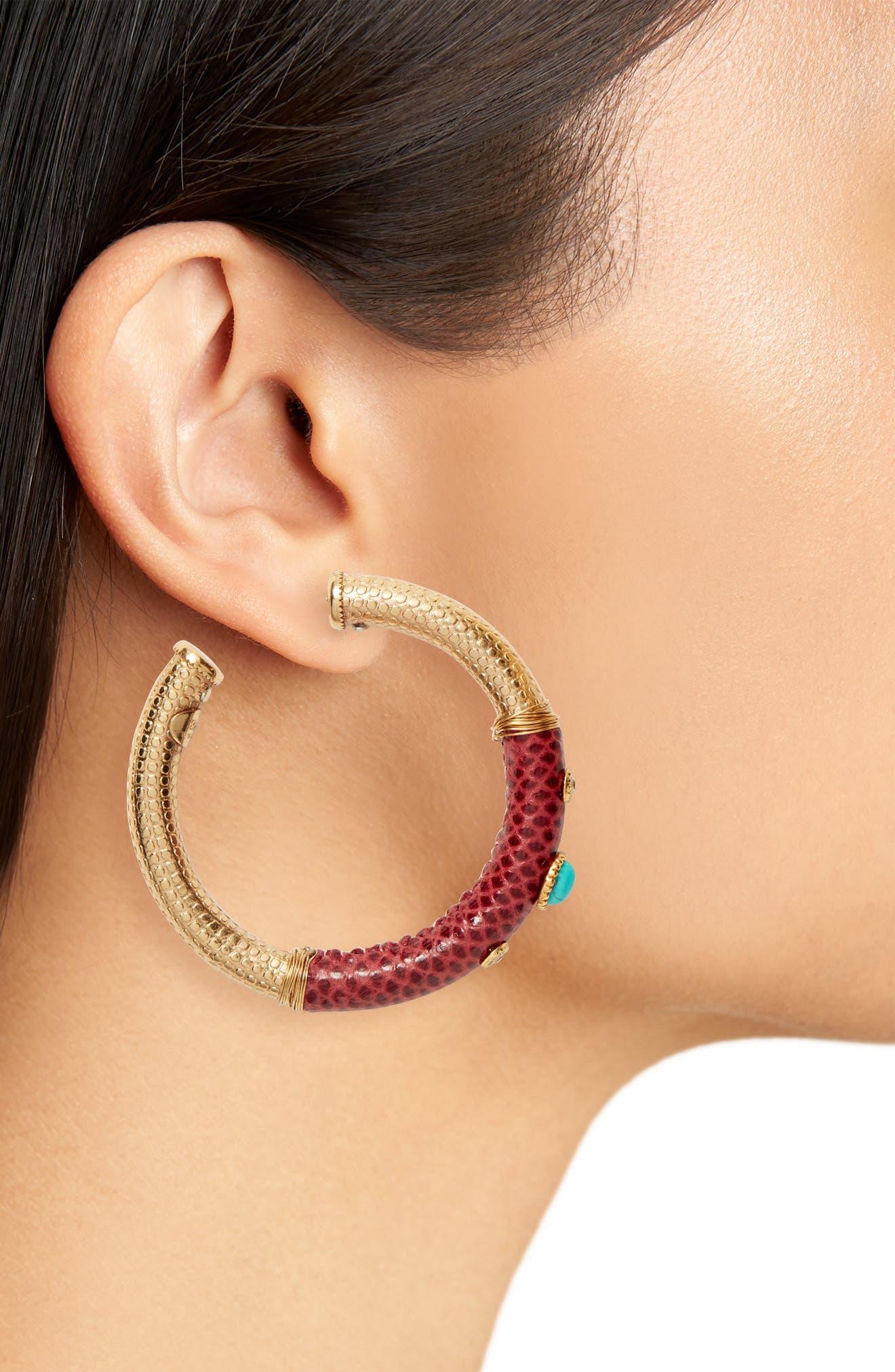 Hoop Earrings,                             Alternate thumbnail 2, color,                             RED