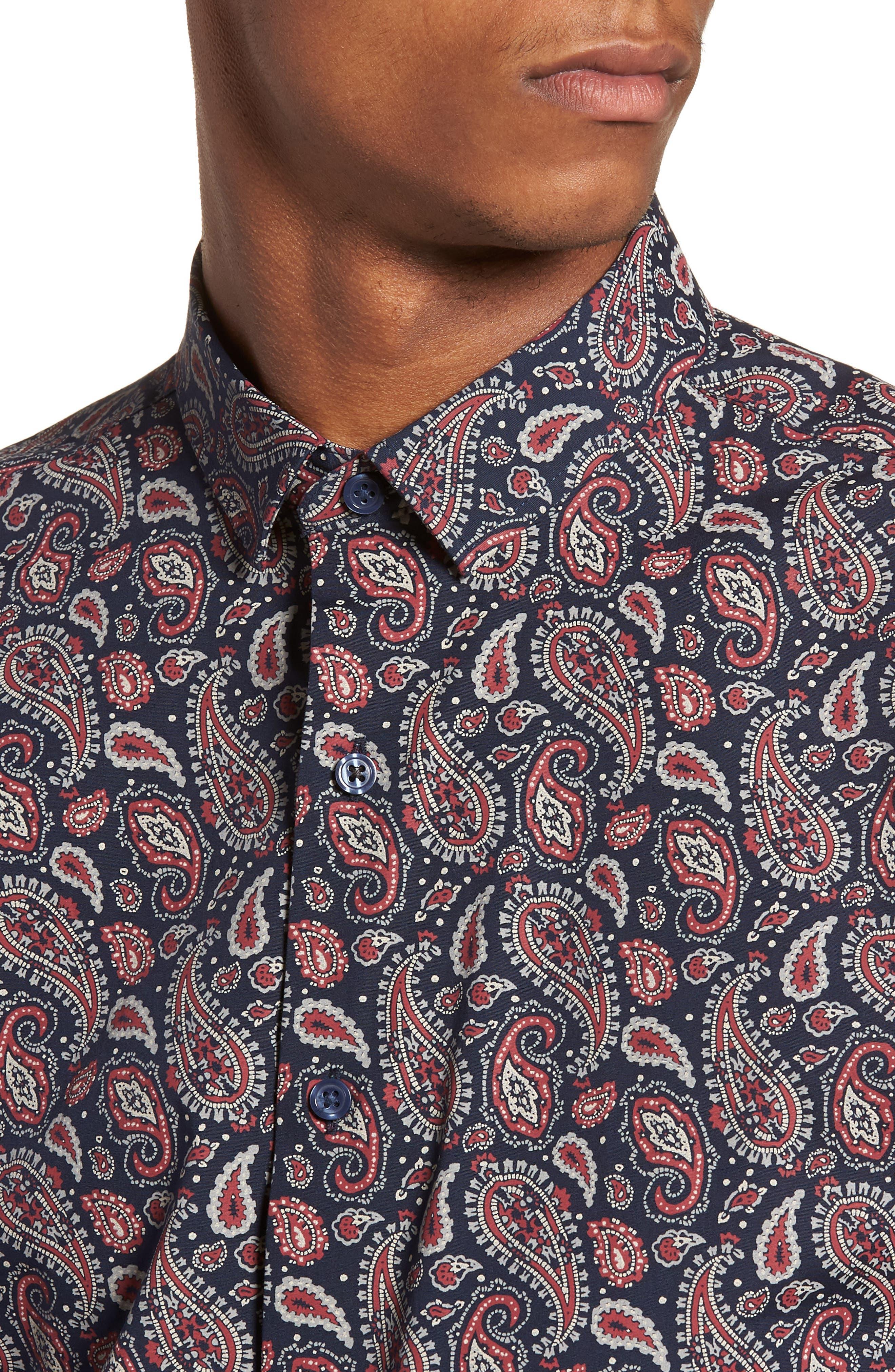 Paisley Print Shirt,                             Alternate thumbnail 4, color,                             410