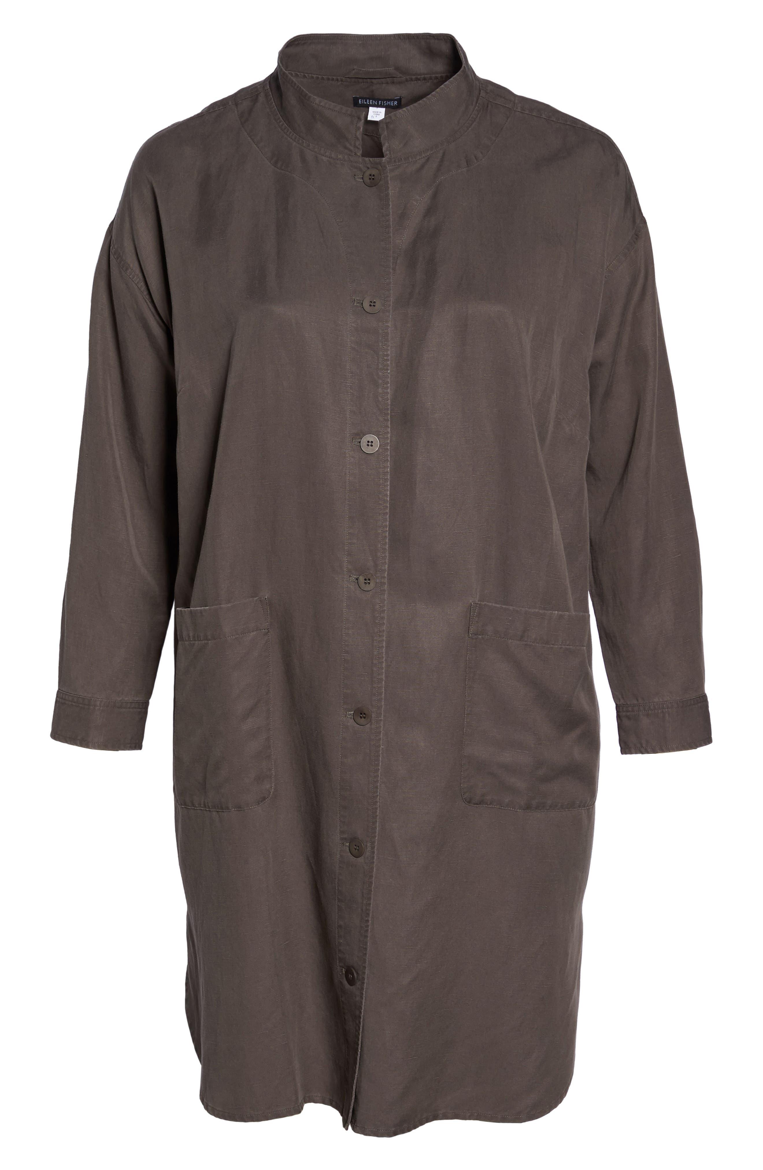 Long Tencel<sup>®</sup> Lyocell & Linen Jacket,                             Alternate thumbnail 9, color,