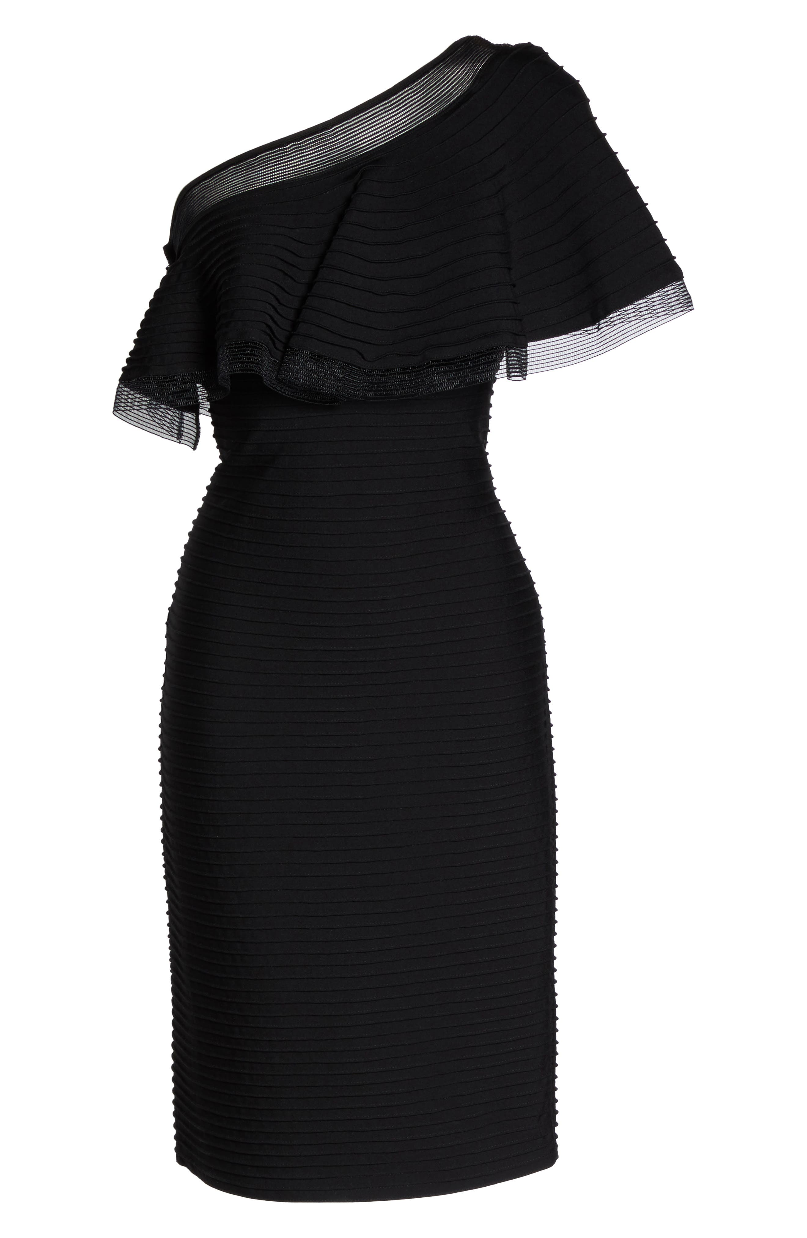 Pintuck One-Shoulder Dress,                             Alternate thumbnail 6, color,                             001