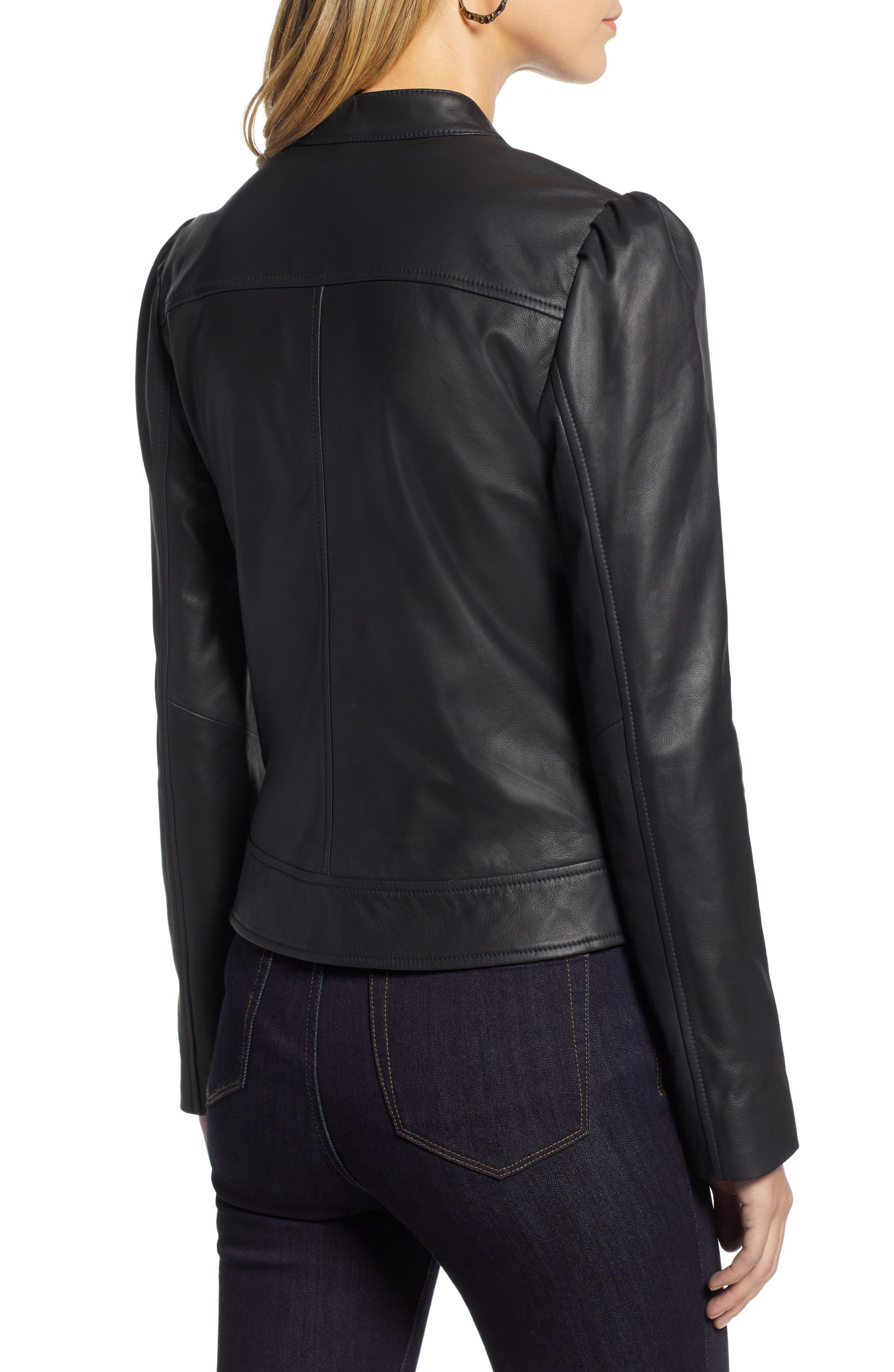 HALOGEN<SUP>®</SUP>,                             Leather Jacket,                             Alternate thumbnail 2, color,                             001