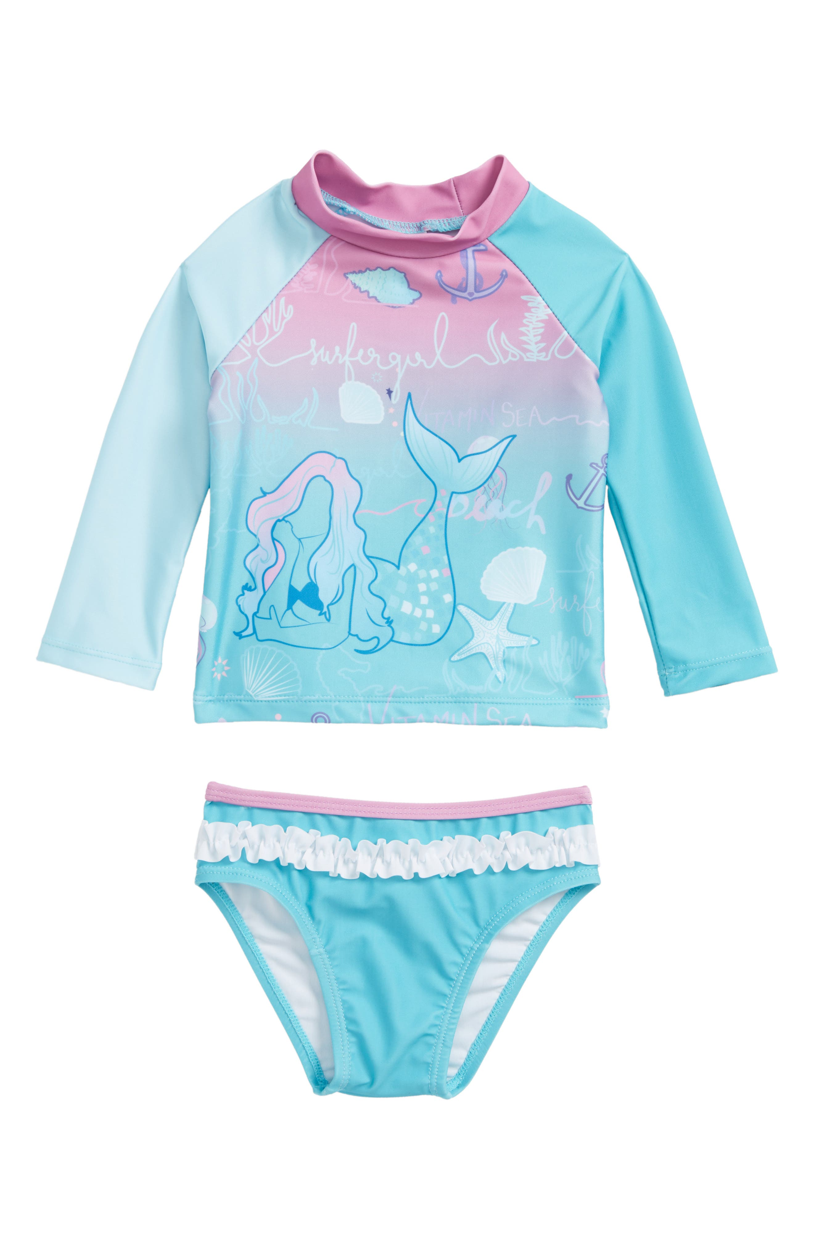 Two-Piece Rashguard Swimsuit,                             Main thumbnail 1, color,                             440