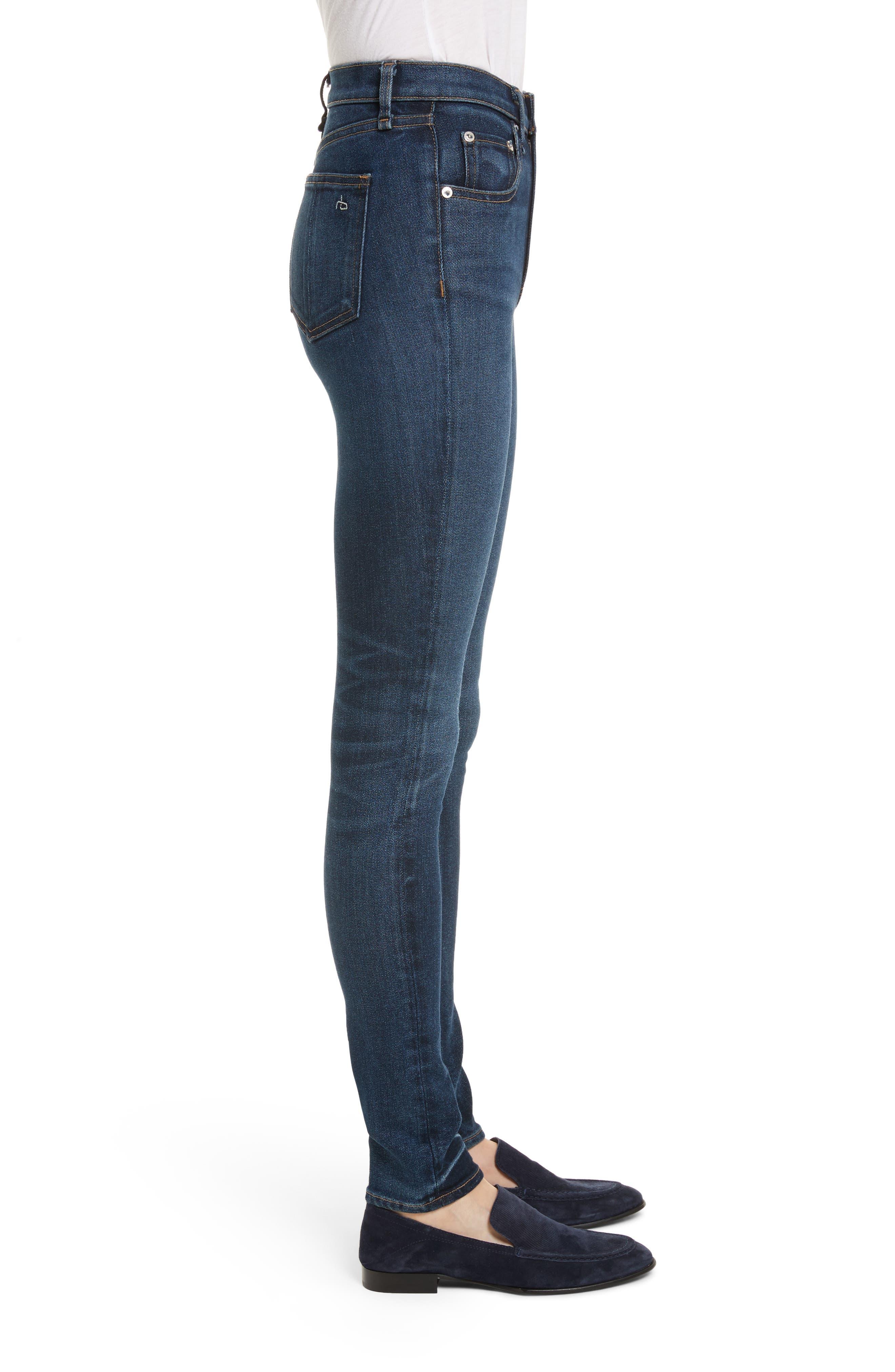 High Waist Skinny Jeans,                             Alternate thumbnail 3, color,                             404