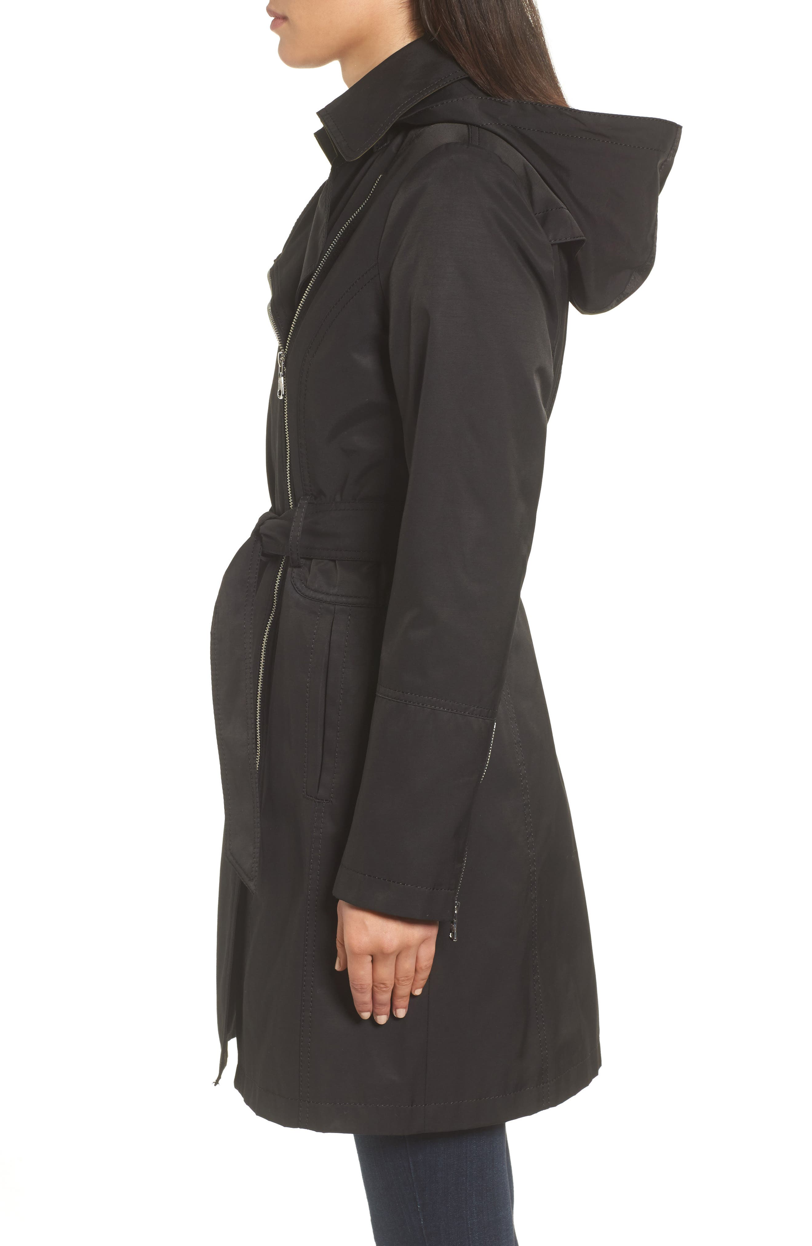 Belted Asymmetrical Trench Coat,                             Alternate thumbnail 7, color,