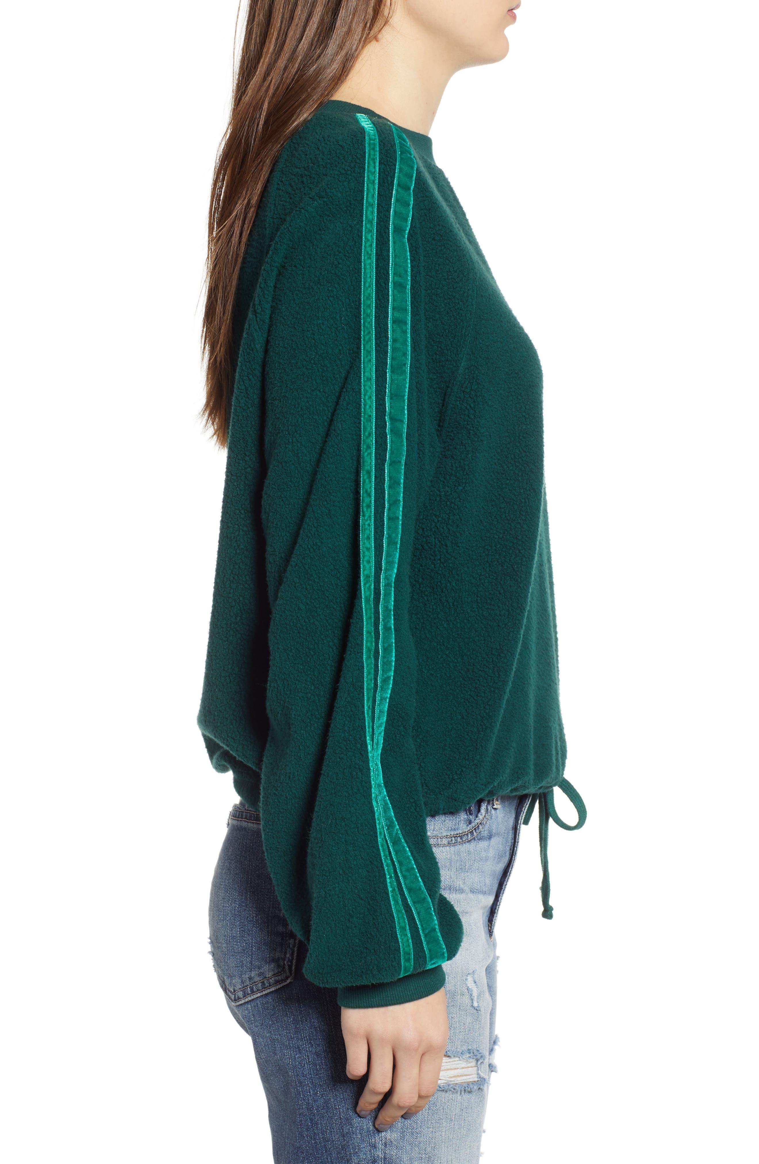 Velvet Stripe Crop Fleece Sweatshirt,                             Alternate thumbnail 3, color,                             BOTANICAL GREEN