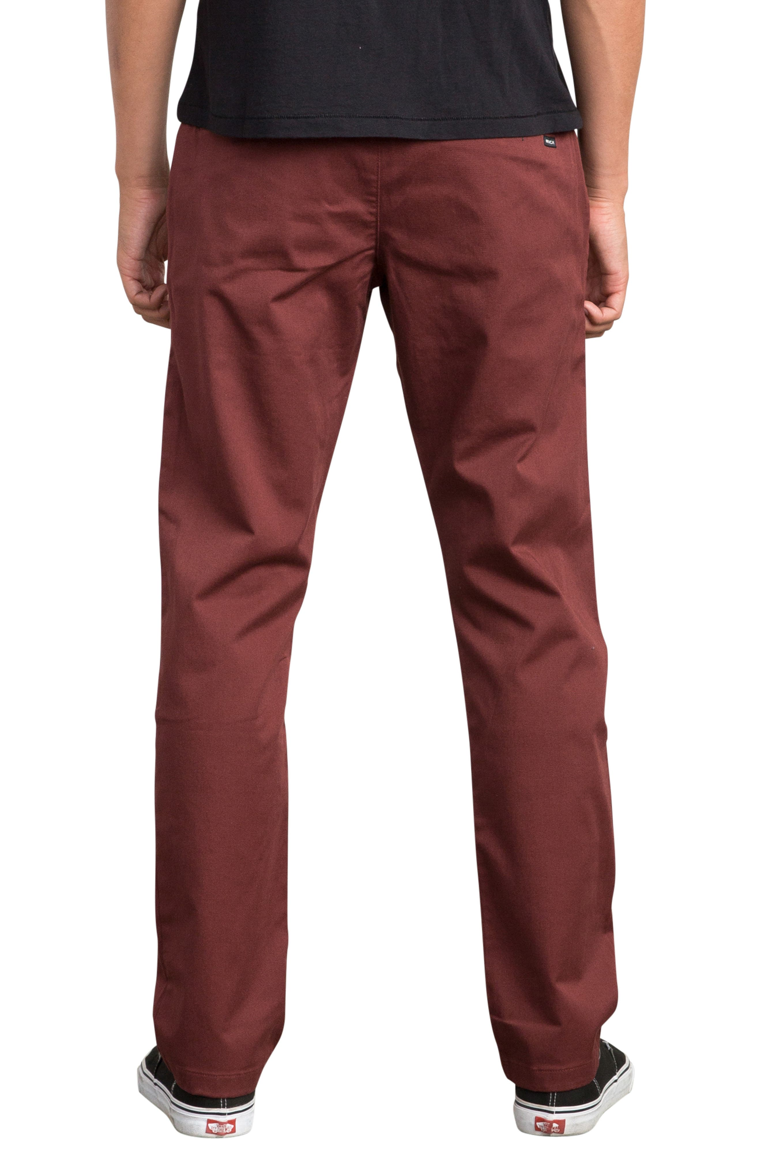 'The Week-End' Slim Straight Leg Stretch Twill Chinos,                             Alternate thumbnail 2, color,                             BORDEAUX