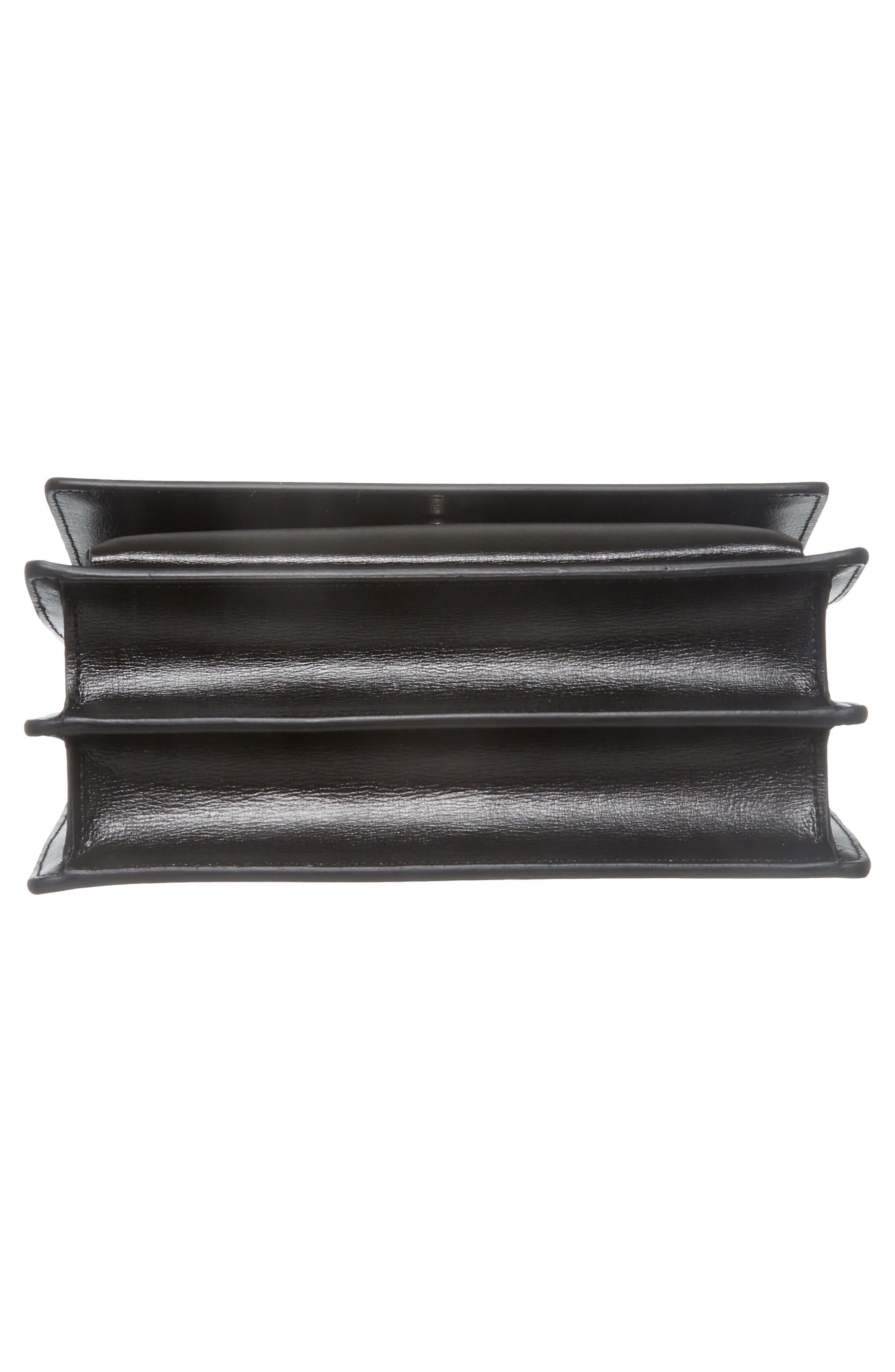 Medium Sunset Calfskin Shoulder Bag,                             Alternate thumbnail 6, color,                             NOIR