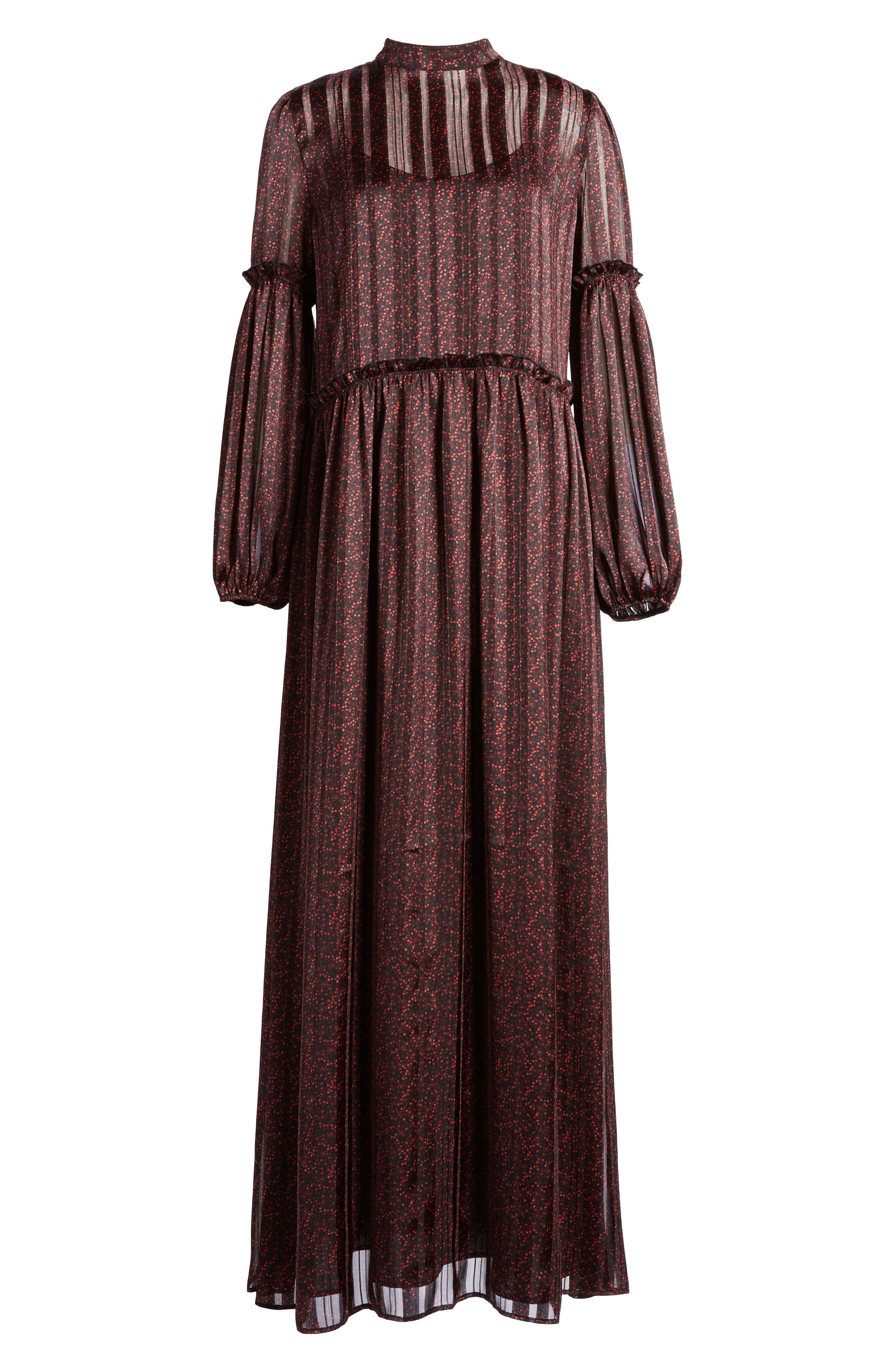 Print Long Dress,                             Alternate thumbnail 6, color,                             600