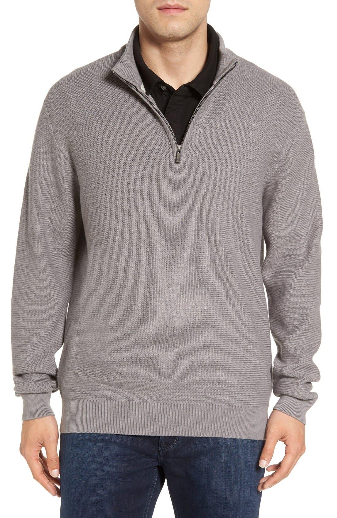 'Benson' Quarter Zip Textured Knit Sweater,                             Main thumbnail 2, color,