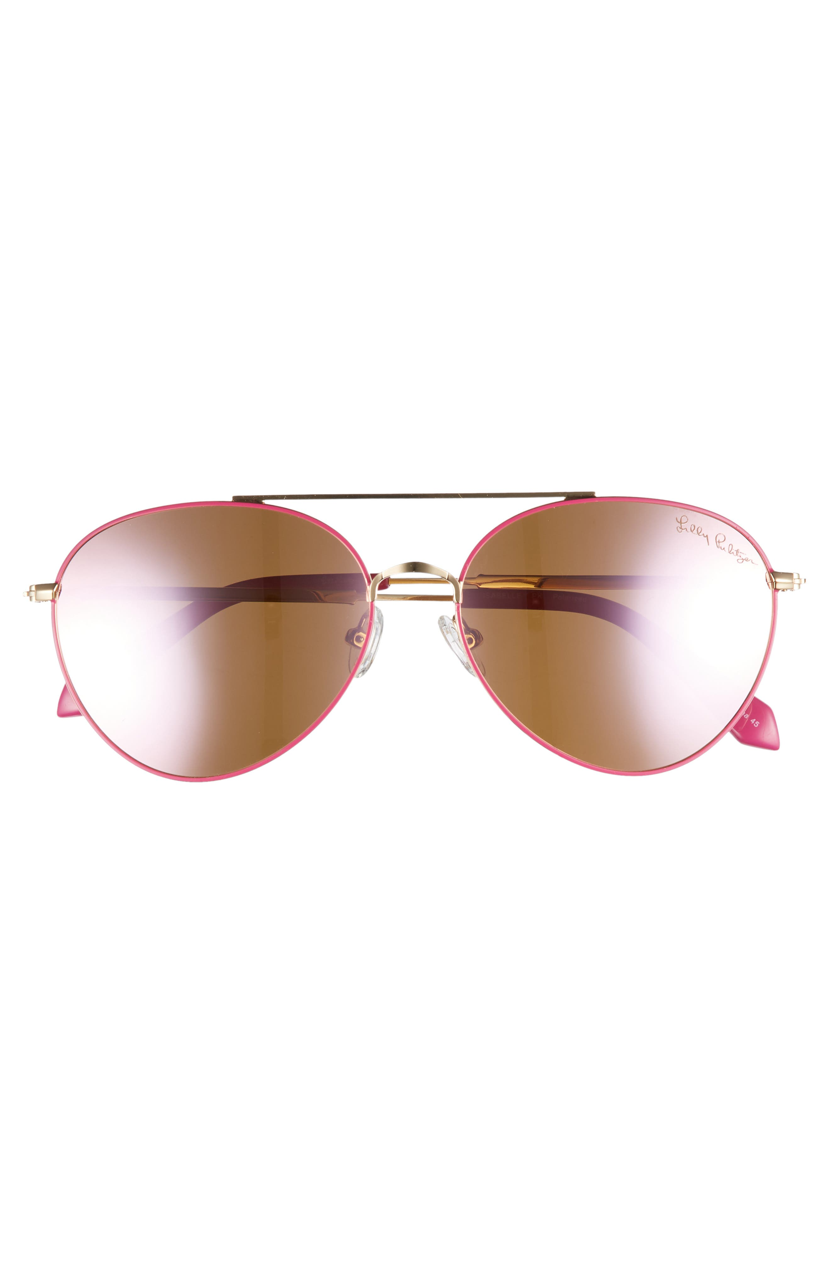 Isabelle 56mm Polarized Metal Aviator Sunglasses,                             Alternate thumbnail 3, color,                             PINK/ PINK