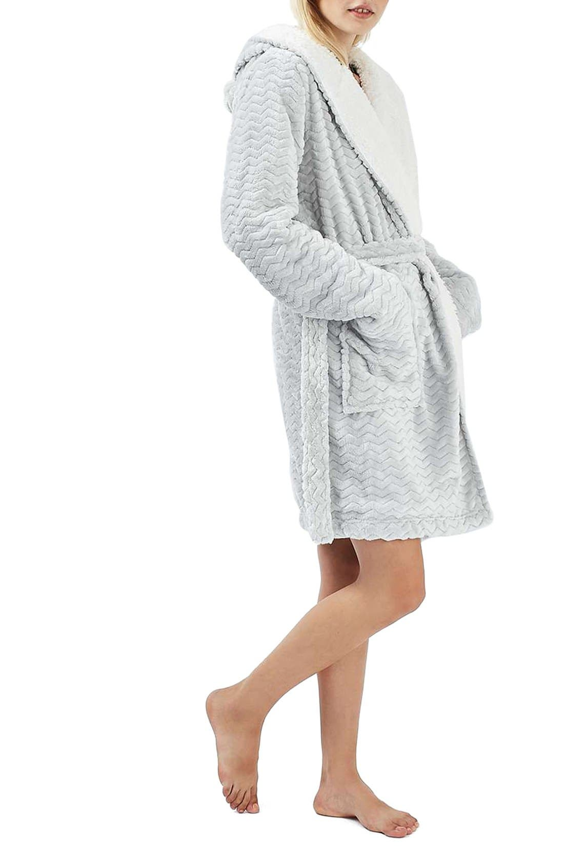 TOPSHOP,                             Teddy Hooded Chevron Robe,                             Alternate thumbnail 5, color,                             020