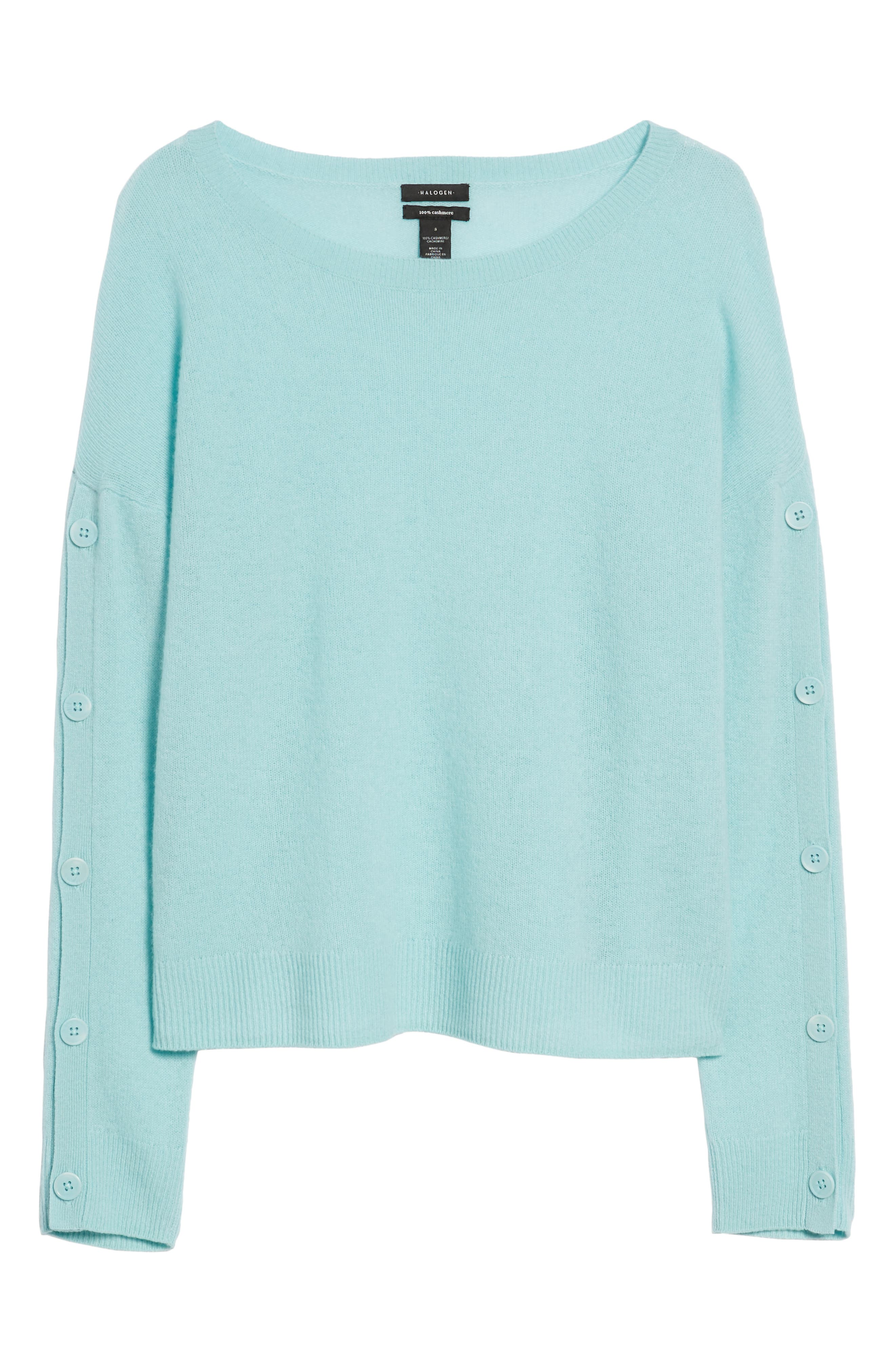 Cashmere Button Sleeve Sweater,                             Alternate thumbnail 6, color,                             450