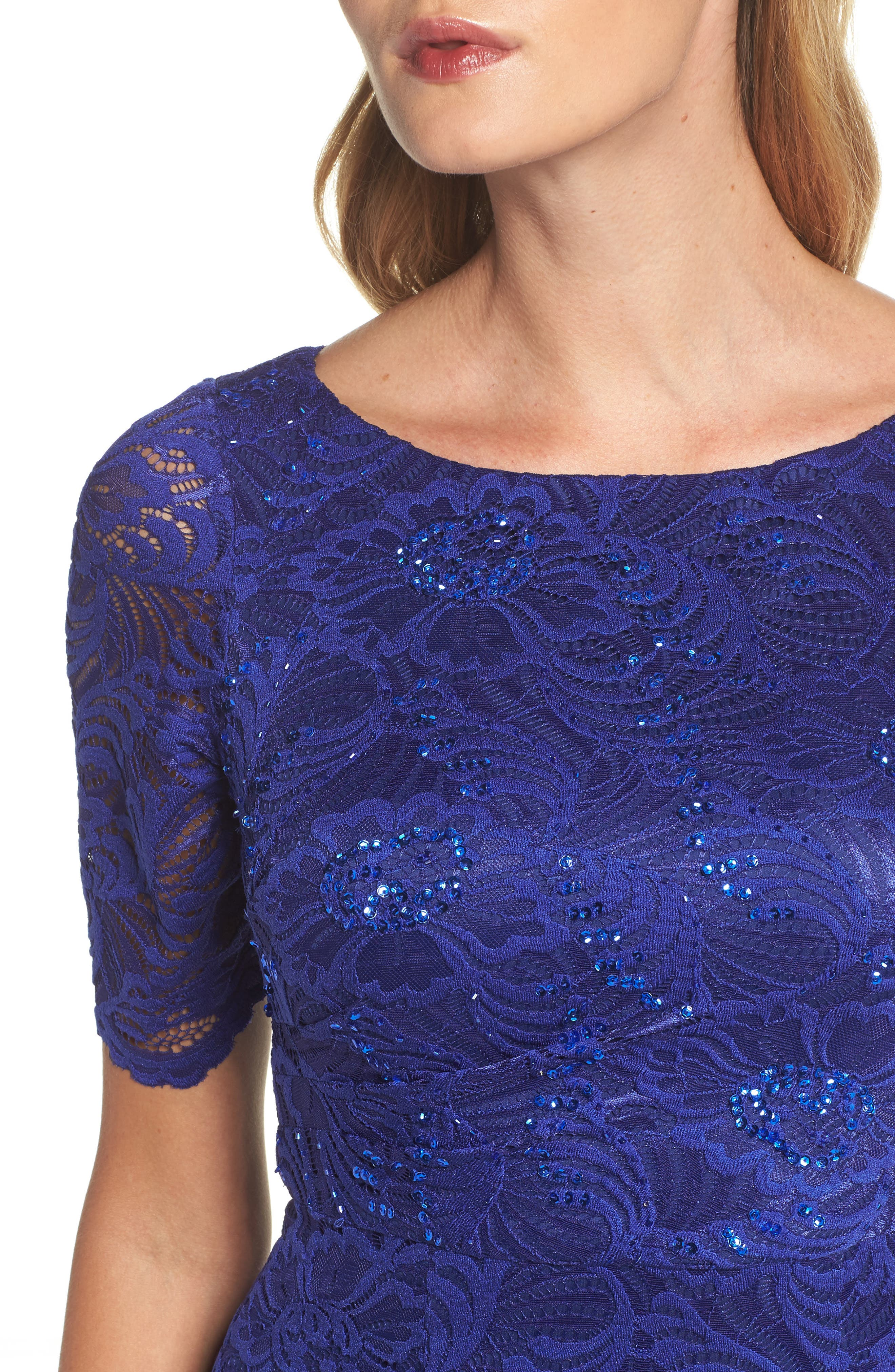 Shirred Stretch Lace Gown,                             Alternate thumbnail 4, color,