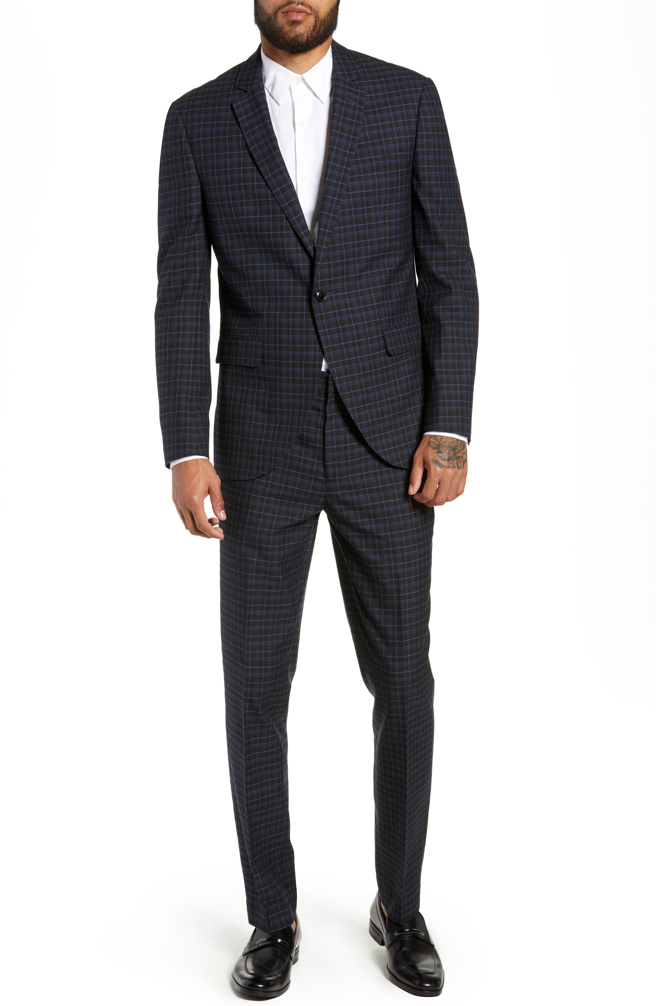 Alsager Slim Fit Check Suit Jacket,                             Alternate thumbnail 7, color,                             021