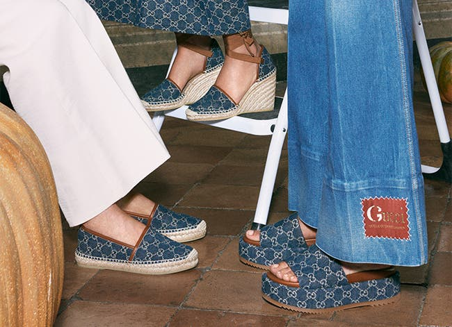 Gucci logo-print espadrille, wedge sandal and platform sandal.