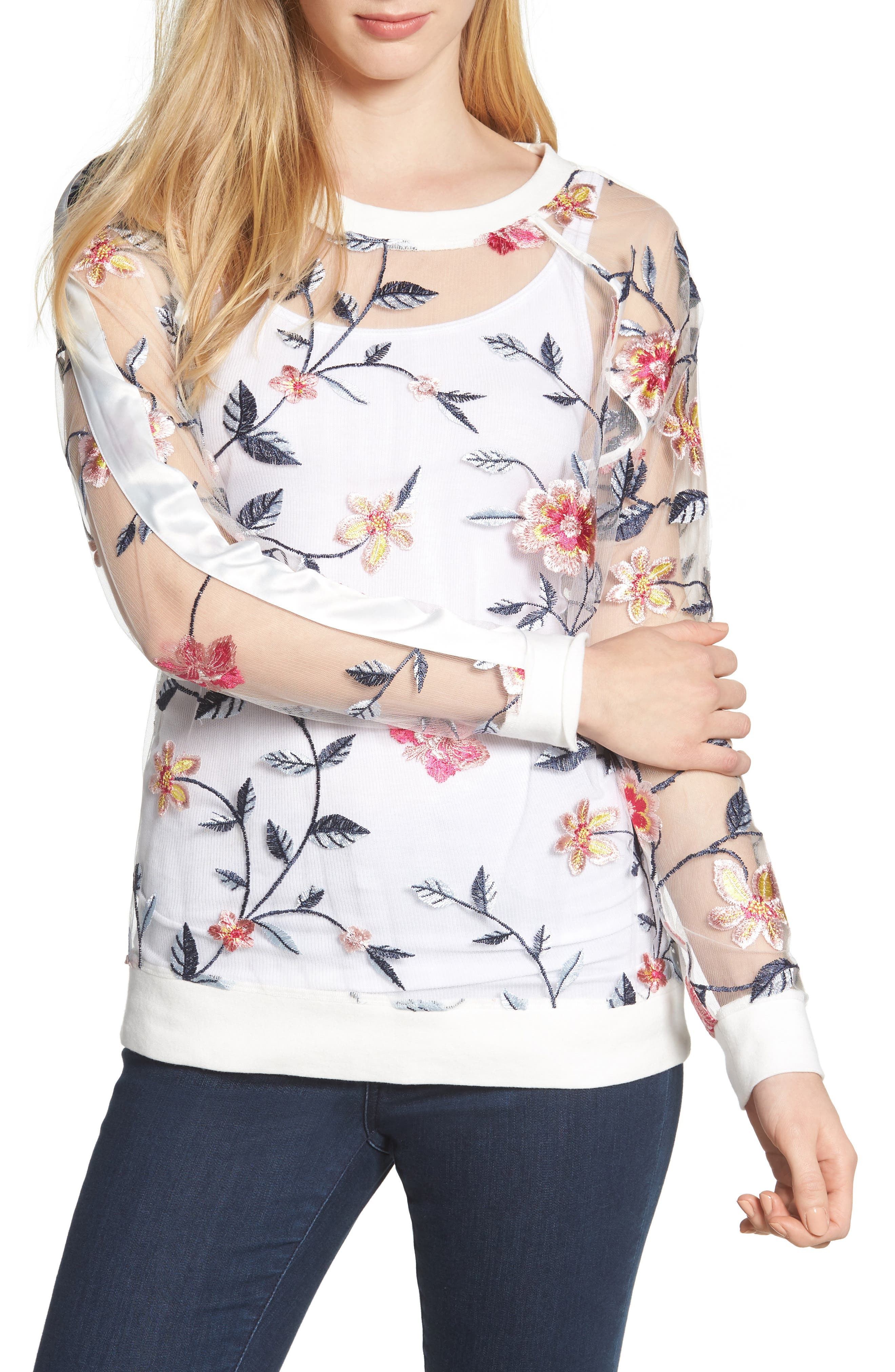 BILLY T Sheer Mesh Embroidered Sweatshirt, Main, color, 100