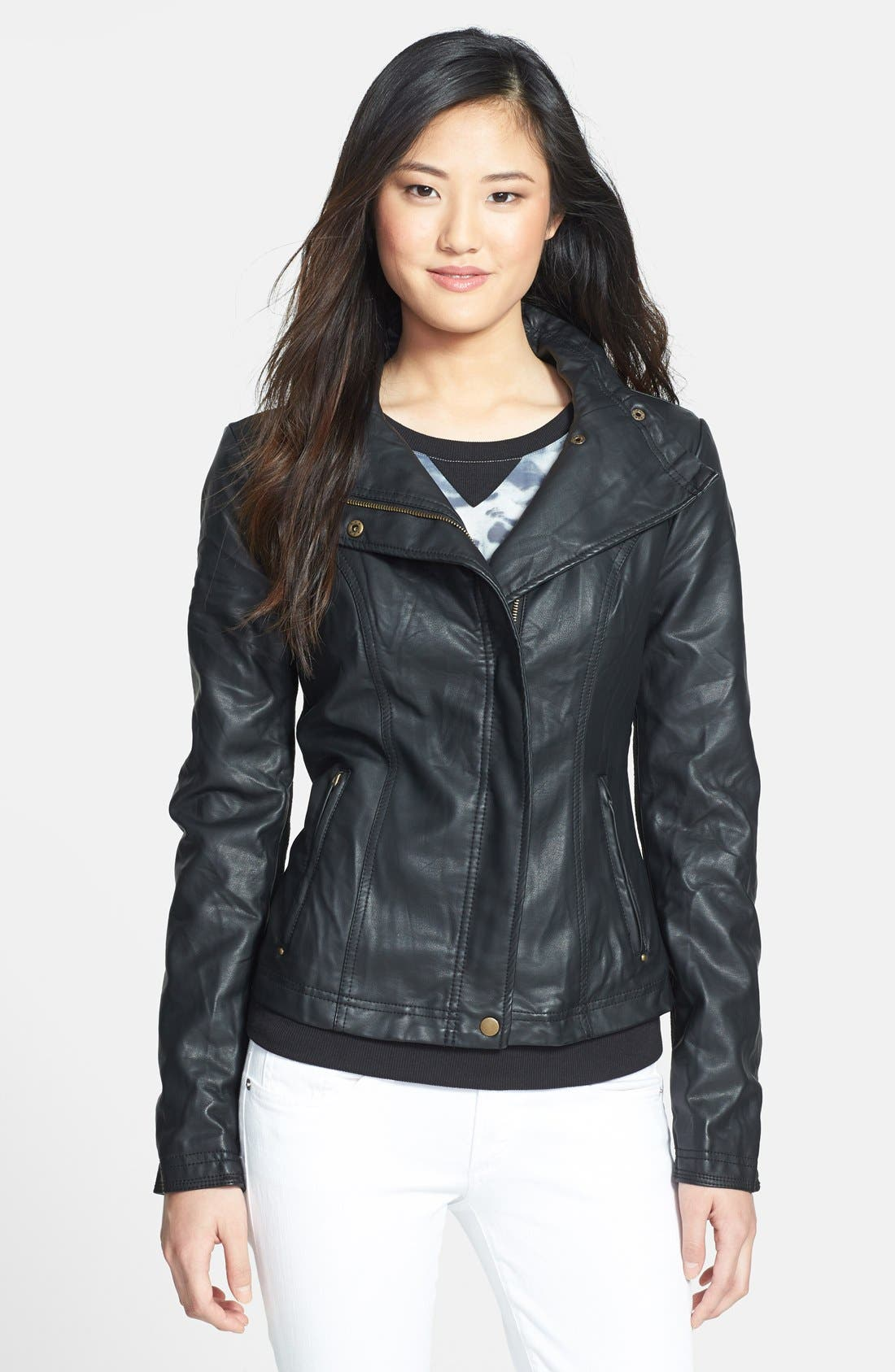 Fitted Faux Leather & Knit Jacket, Main, color, 001