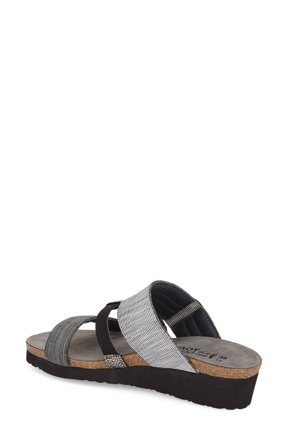 'Brenda' Slip-On Sandal,                             Alternate thumbnail 2, color,                             GREY/ BLACK LEATHER FABRIC
