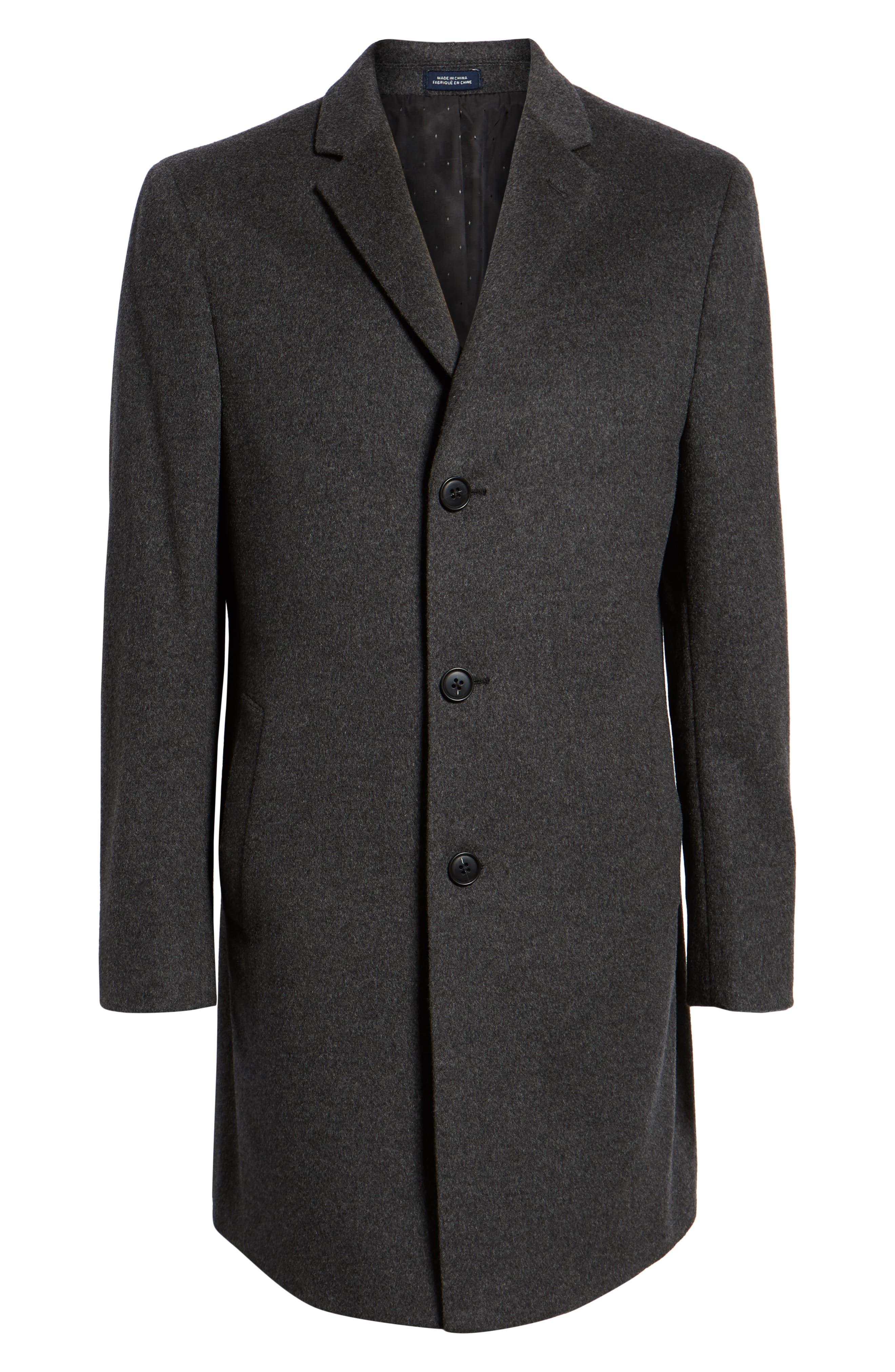 Mason Wool & Cashmere Overcoat,                             Alternate thumbnail 6, color,                             CHARCOAL