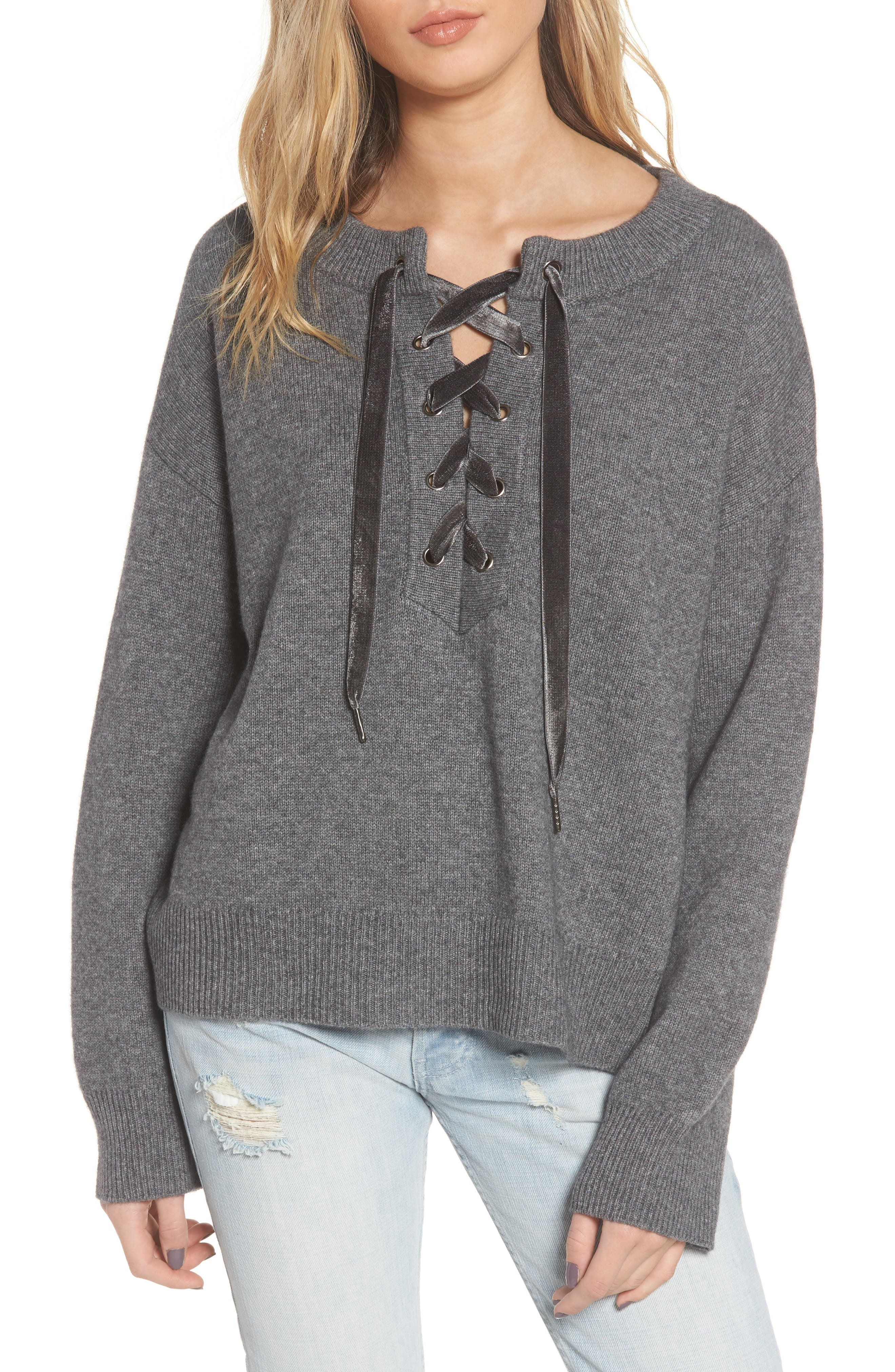Rails Olivia Wool & Cashmere Lace-Up Sweater, Grey