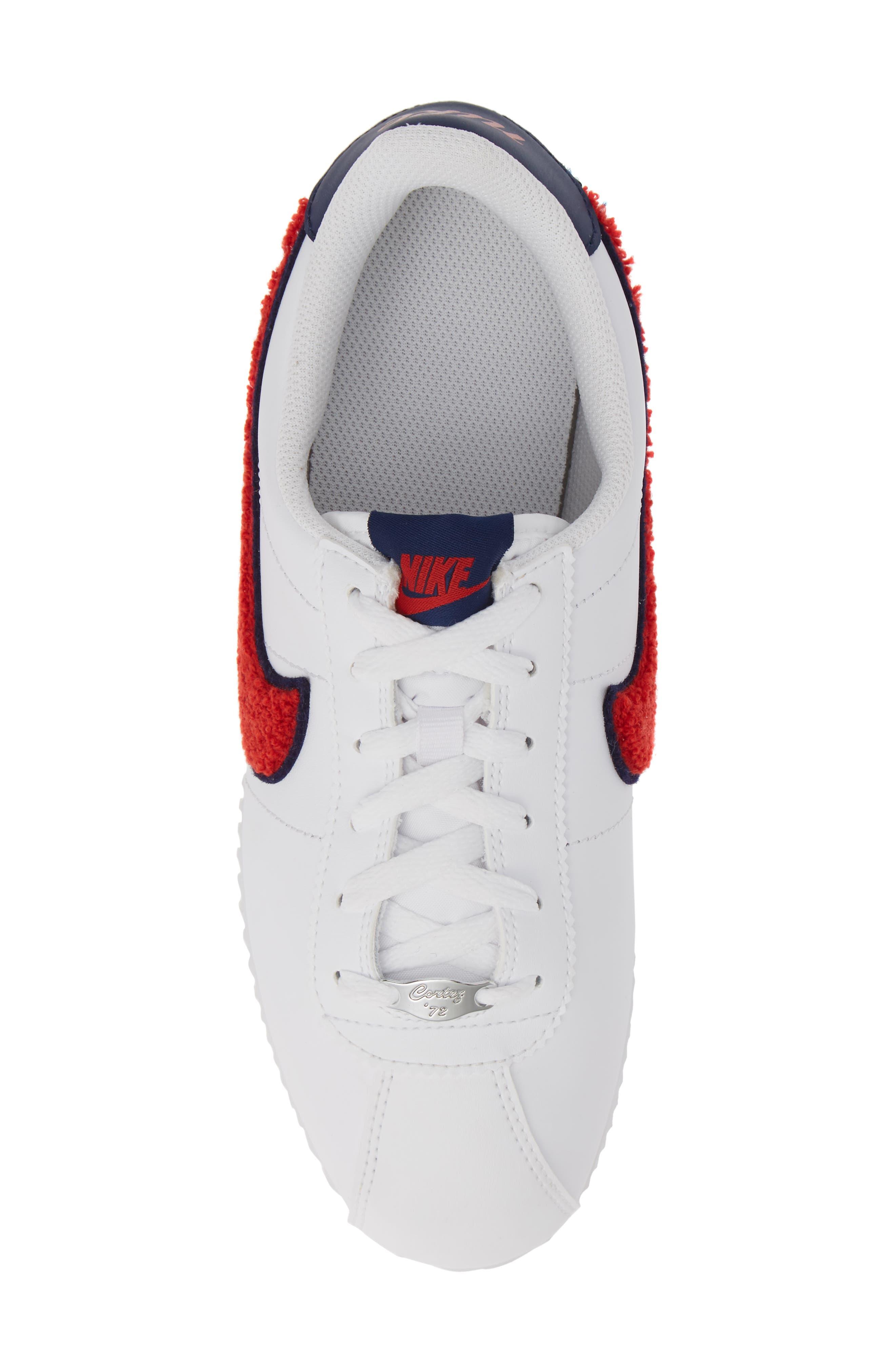Cortez Basic SE Sneaker,                             Alternate thumbnail 5, color,                             WHITE/ UNIVERSITY RED/ BLUE