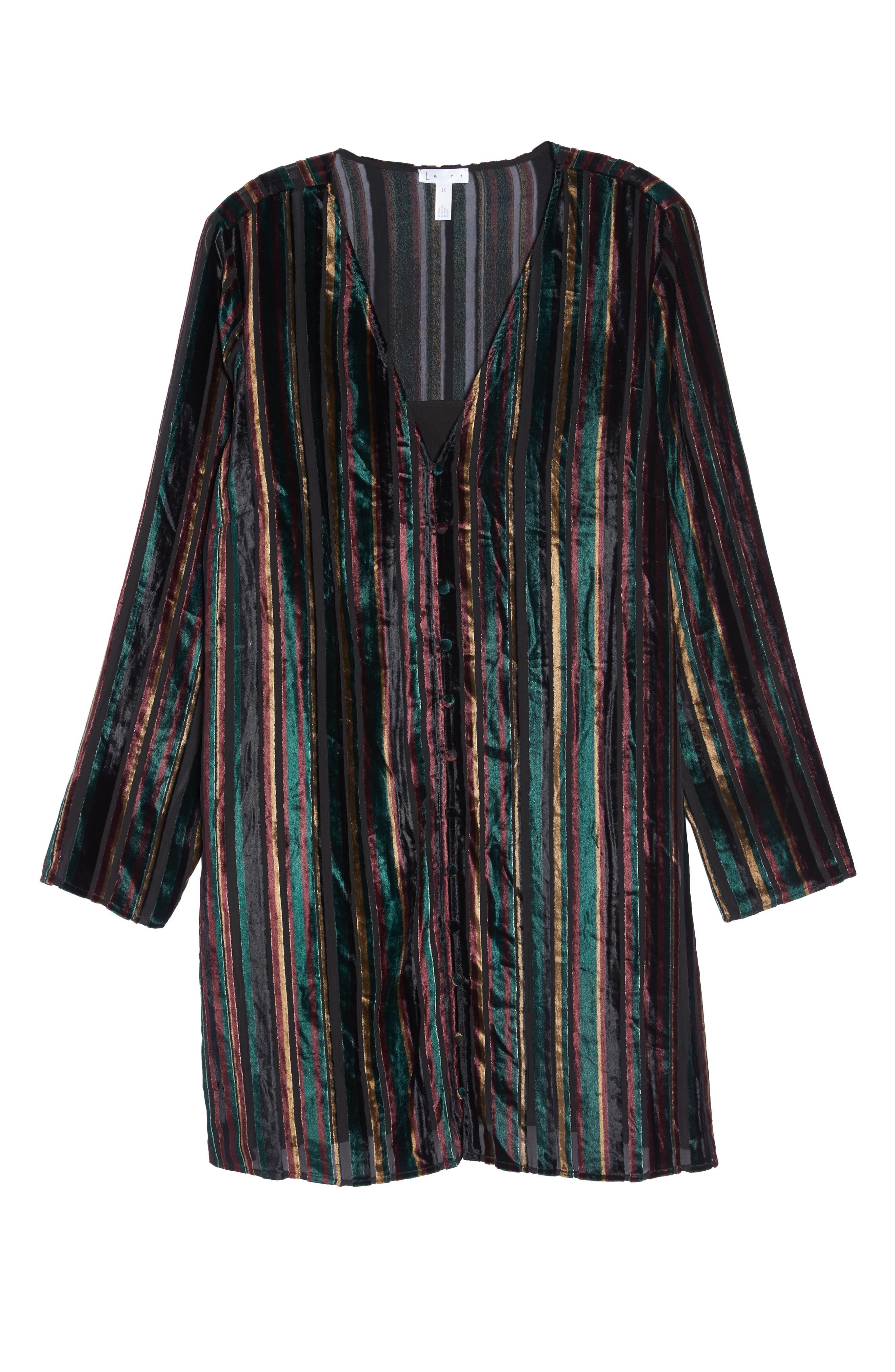 Velvet Burnout Stripe Dress,                             Alternate thumbnail 7, color,                             BLACK VELVET STRIPE