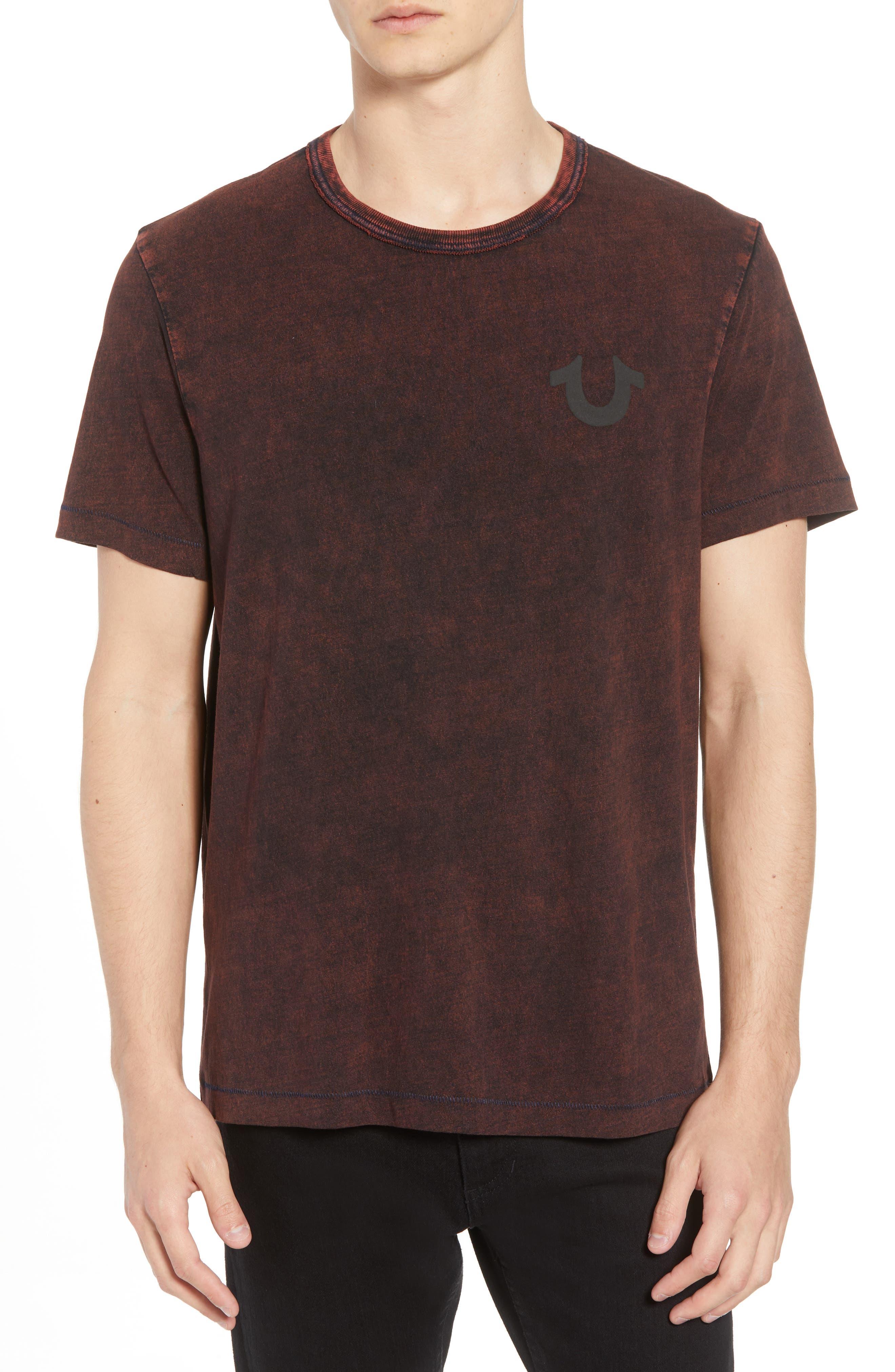 Washed Indigo Logo T-Shirt,                         Main,                         color, INDIGO/ SUNBURST ORANGE COMBO