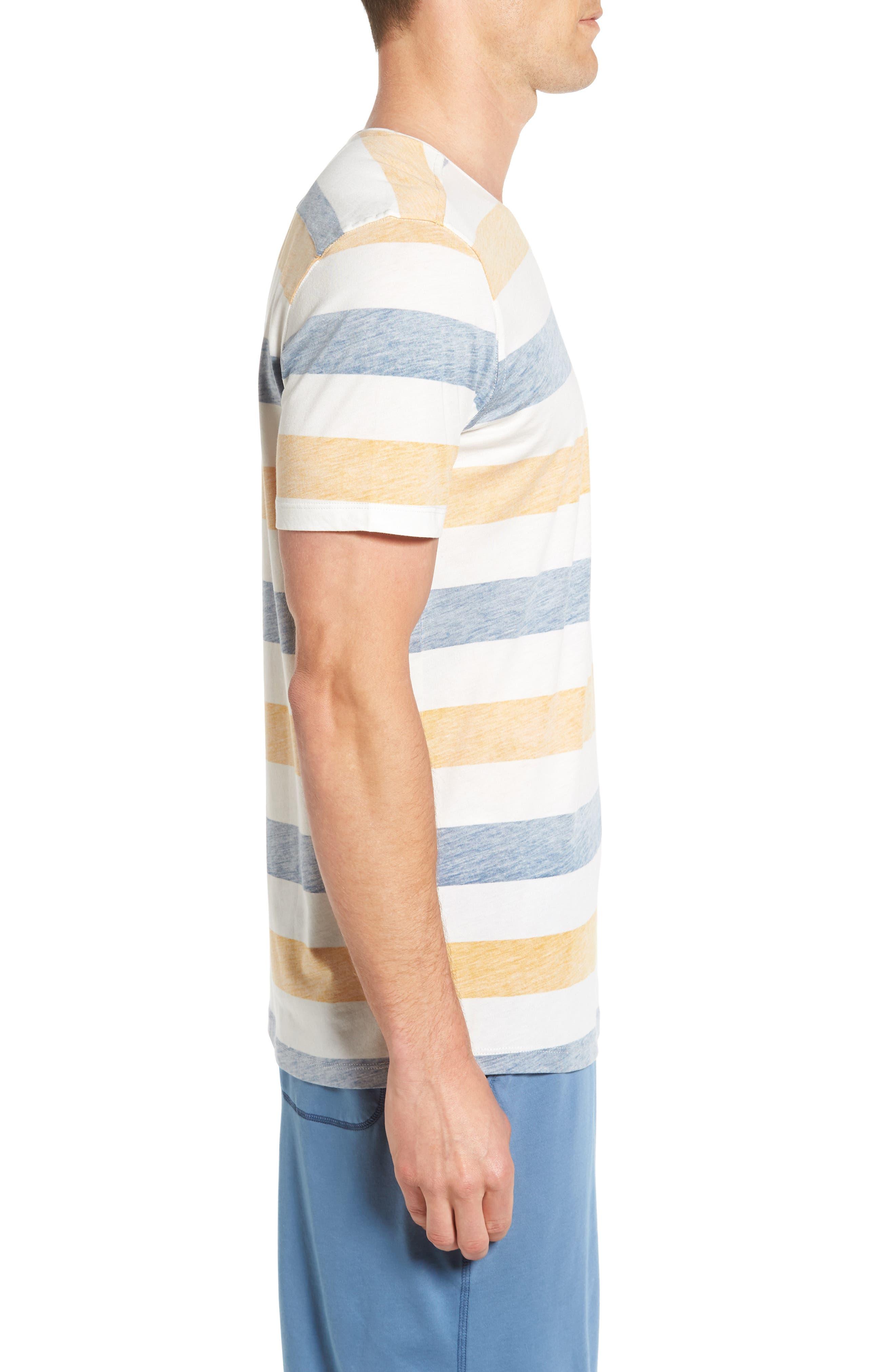 Reverse Stripe Pima Cotton & Modal V-Neck T-Shirt,                             Alternate thumbnail 3, color,                             106