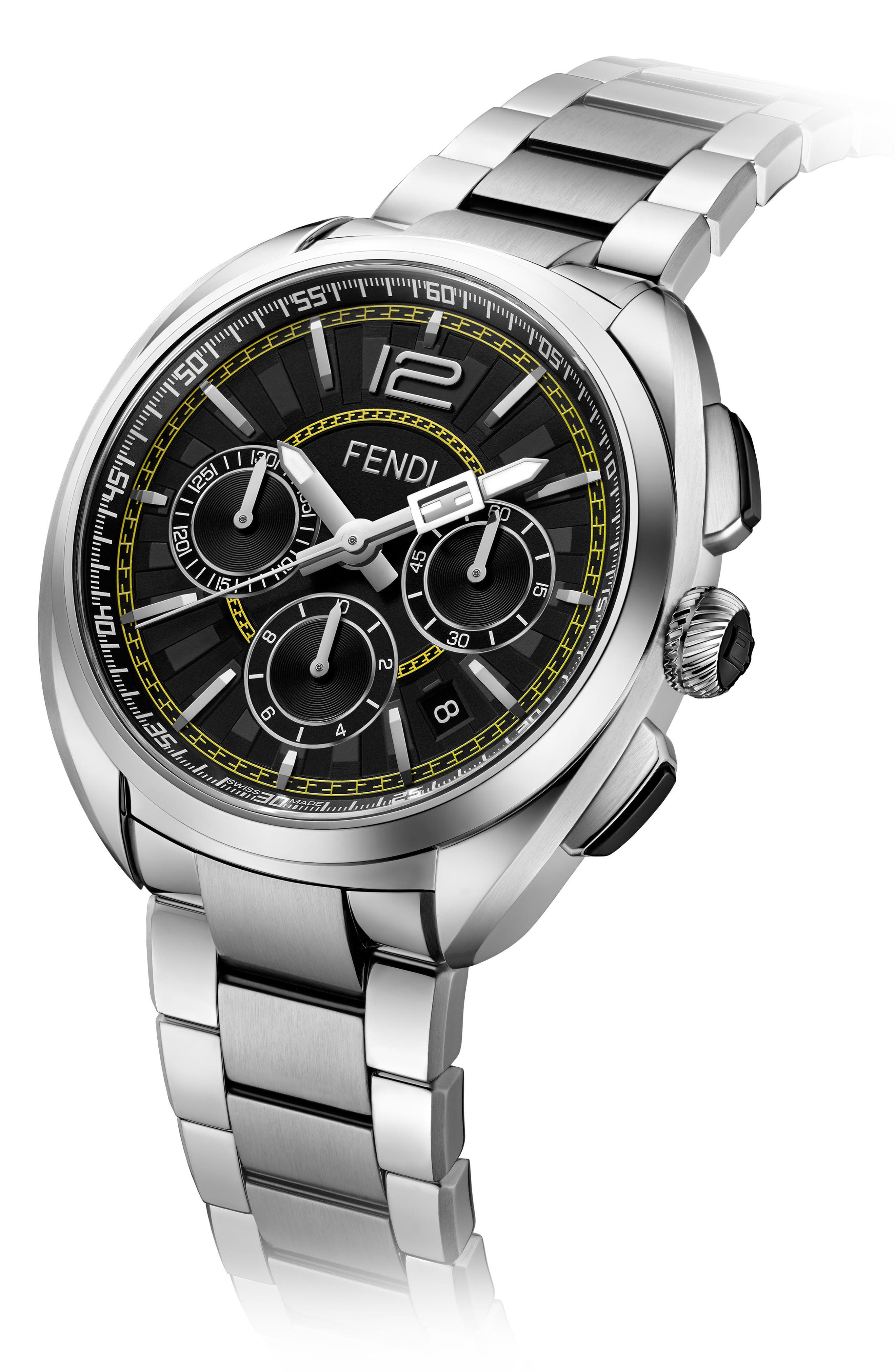 Momento Chronograph Bracelet Watch, 46mm,                             Alternate thumbnail 2, color,                             SILVER/ BLACK/ SILVER