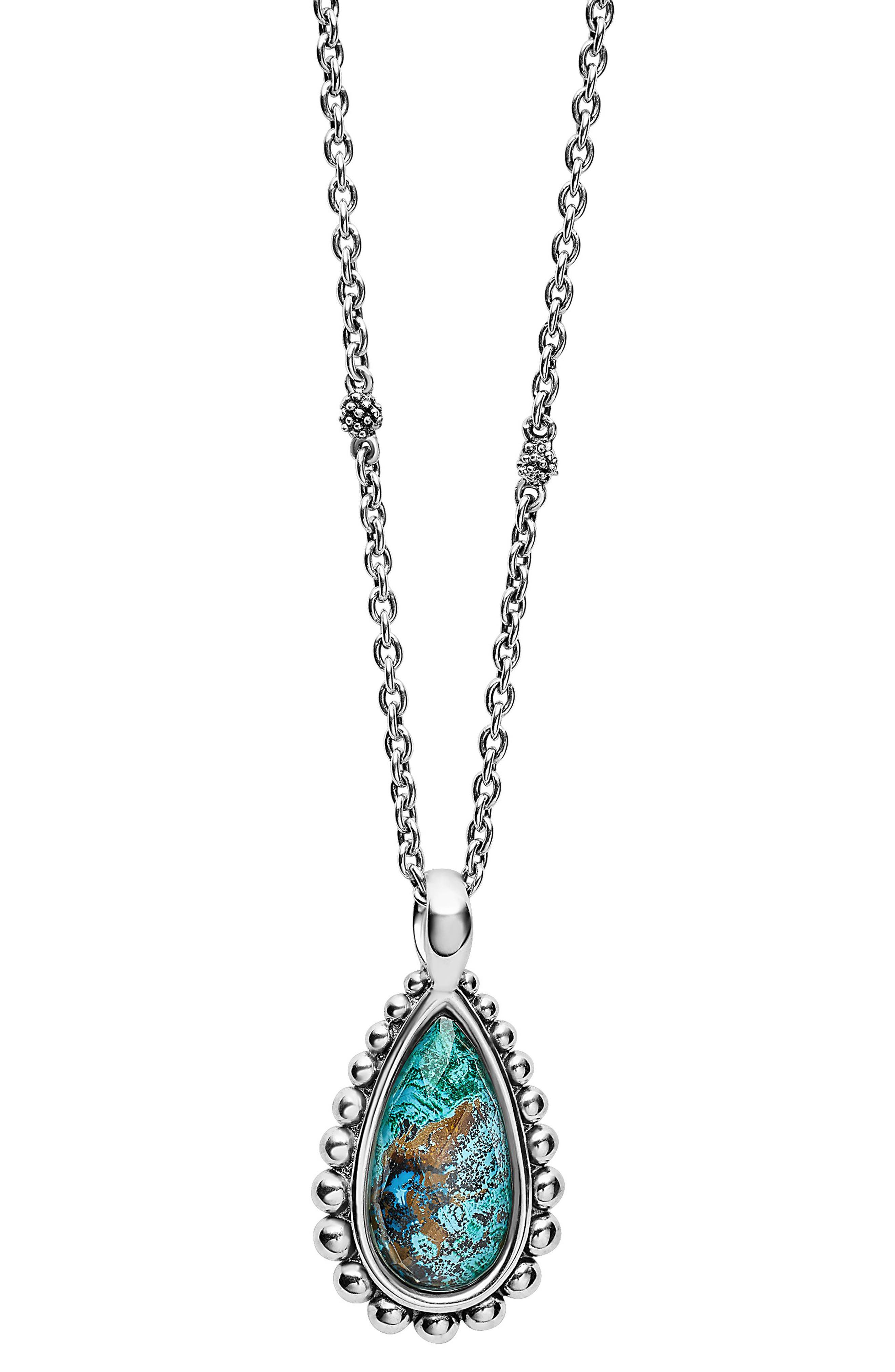 'Maya' Teardrop Pendant Necklace,                             Main thumbnail 1, color,                             CHRYSOCOLLA