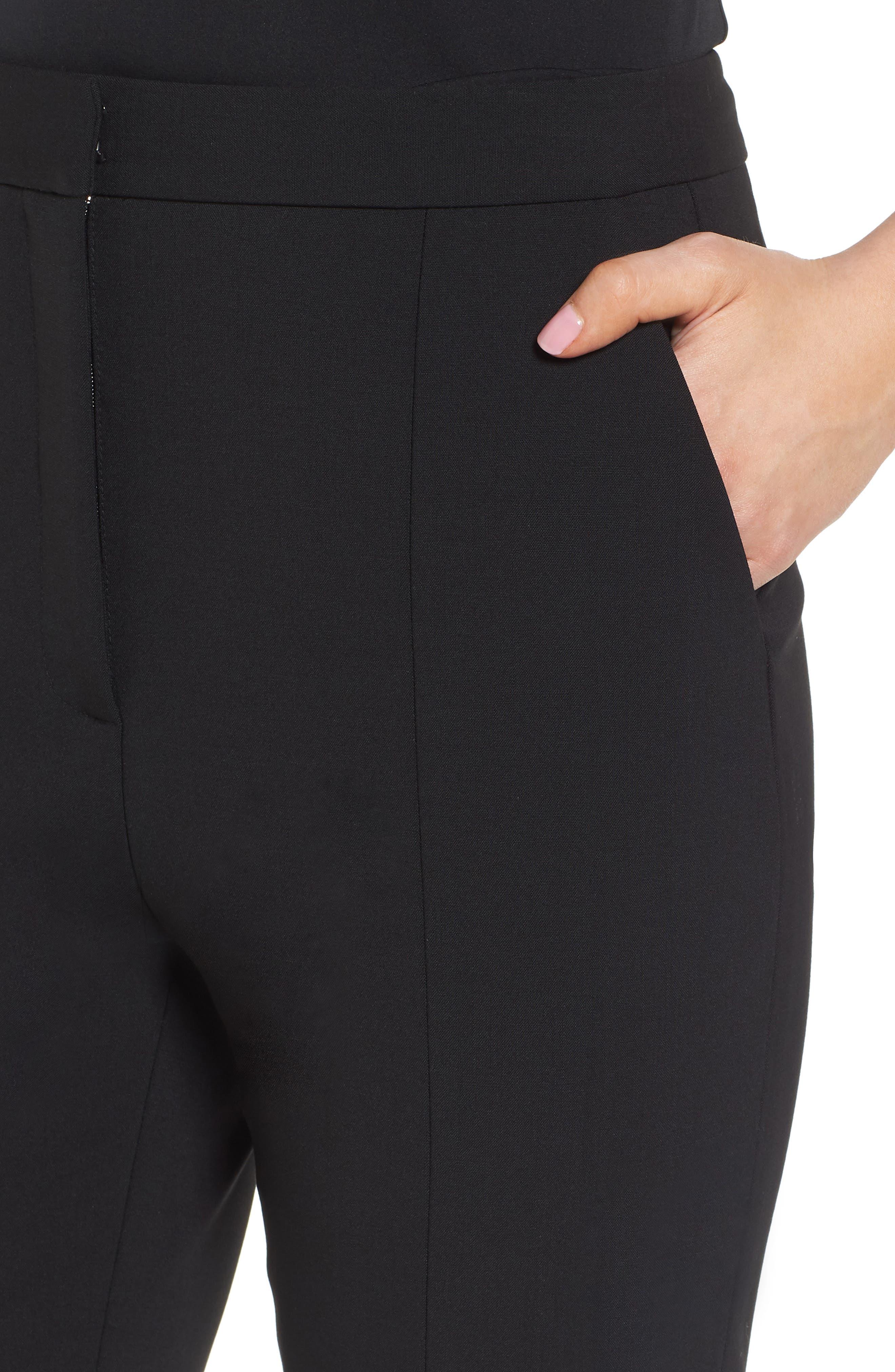 LEWIT,                             Slit Detail Cigarette Pants,                             Alternate thumbnail 4, color,                             001