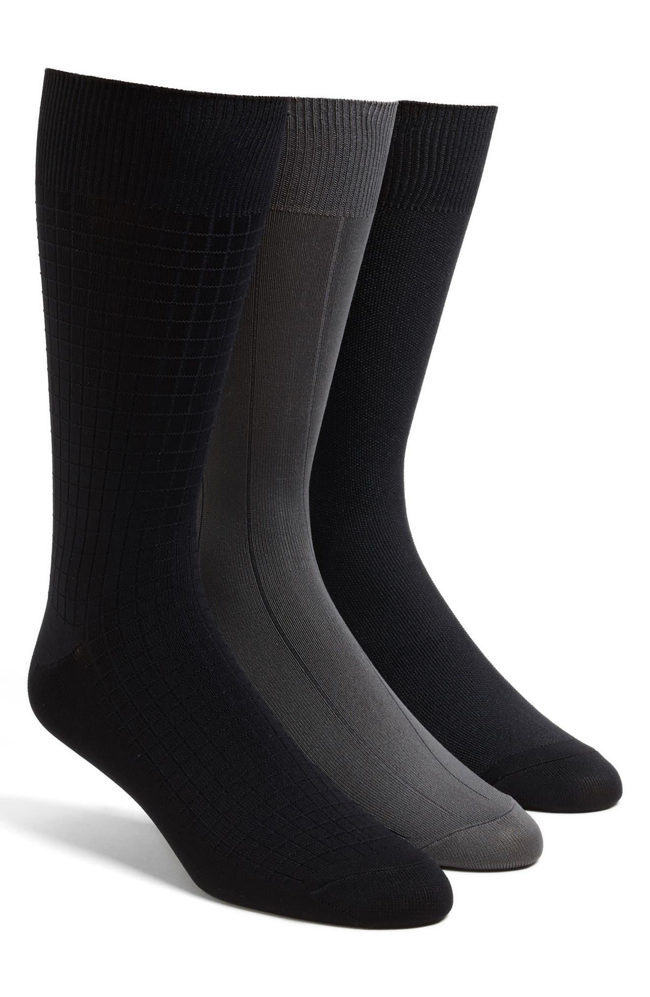 3-Pack Microfiber Socks,                             Alternate thumbnail 3, color,                             GREY
