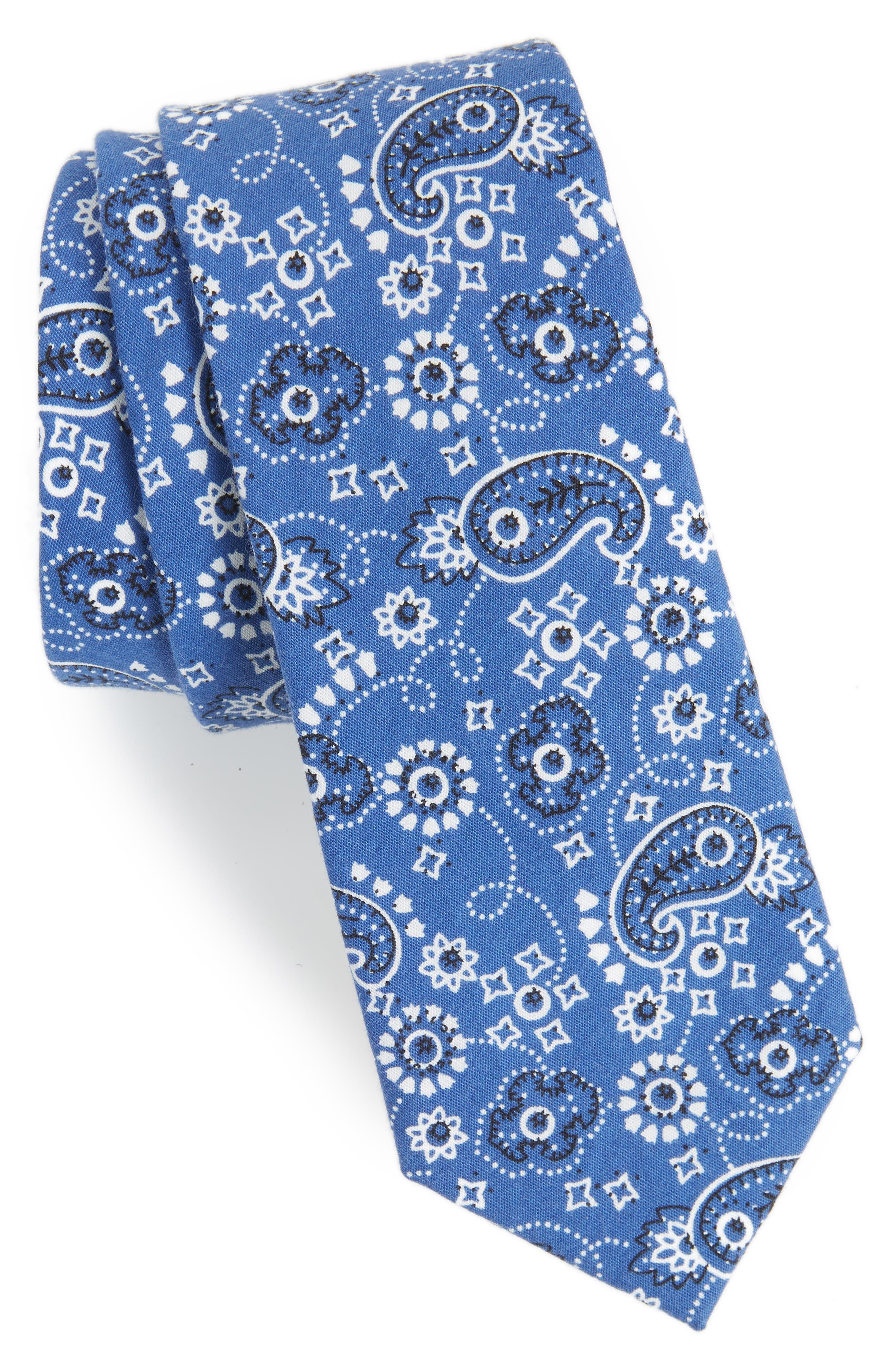 Orduna Paisley Cotton Tie,                             Main thumbnail 1, color,                             NAVY