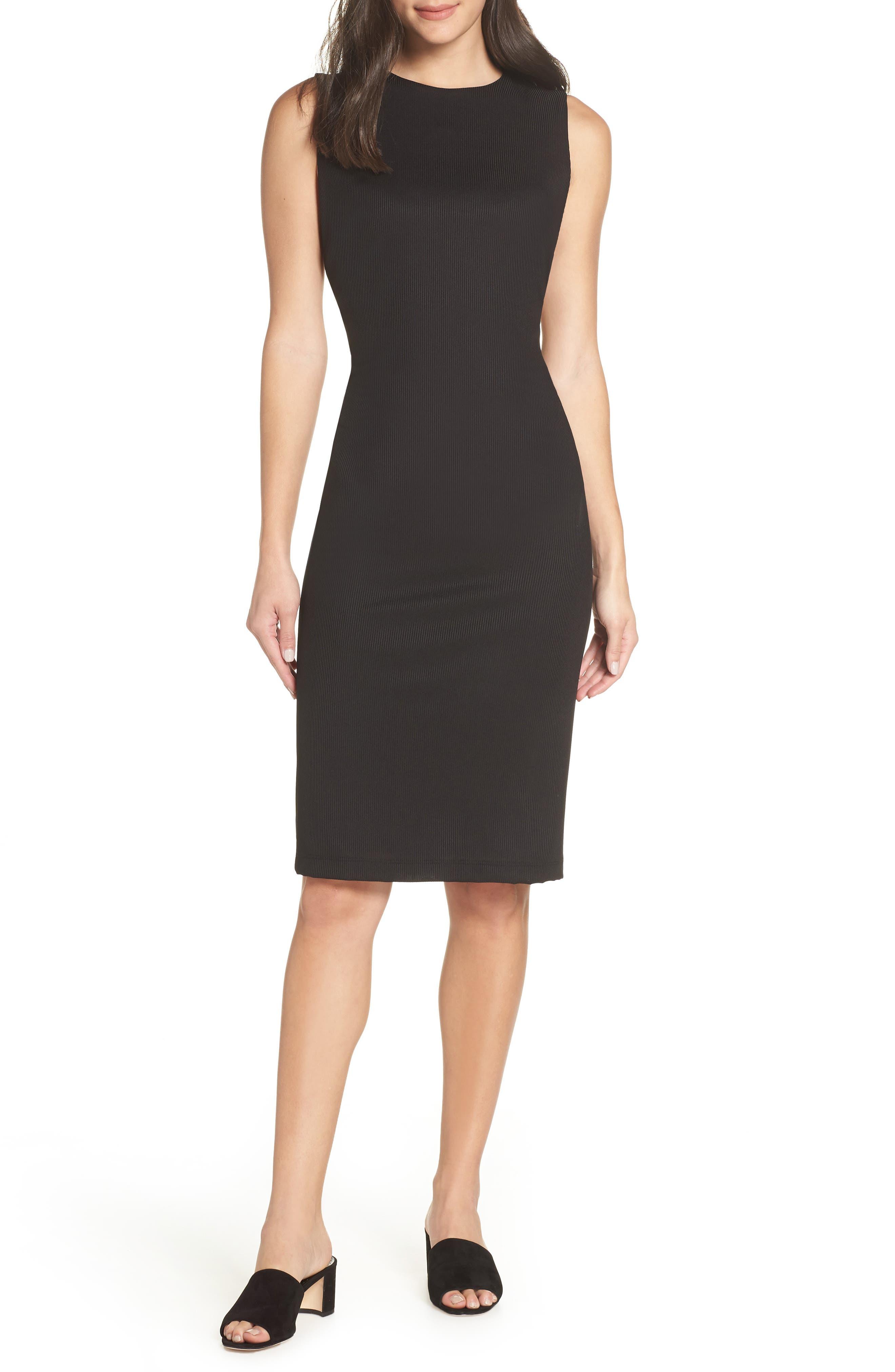 Olya Rib Sheath Dress,                         Main,                         color, BLACK