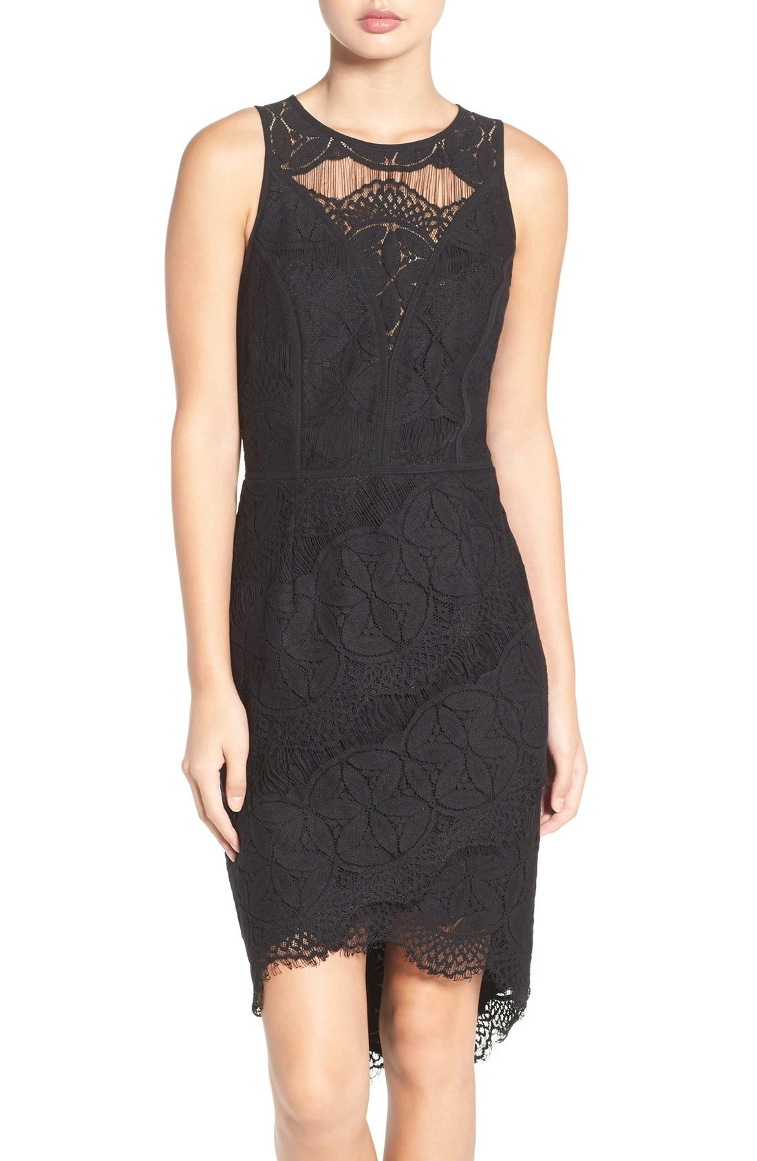 Lace High/Low Sheath Dress,                             Main thumbnail 2, color,