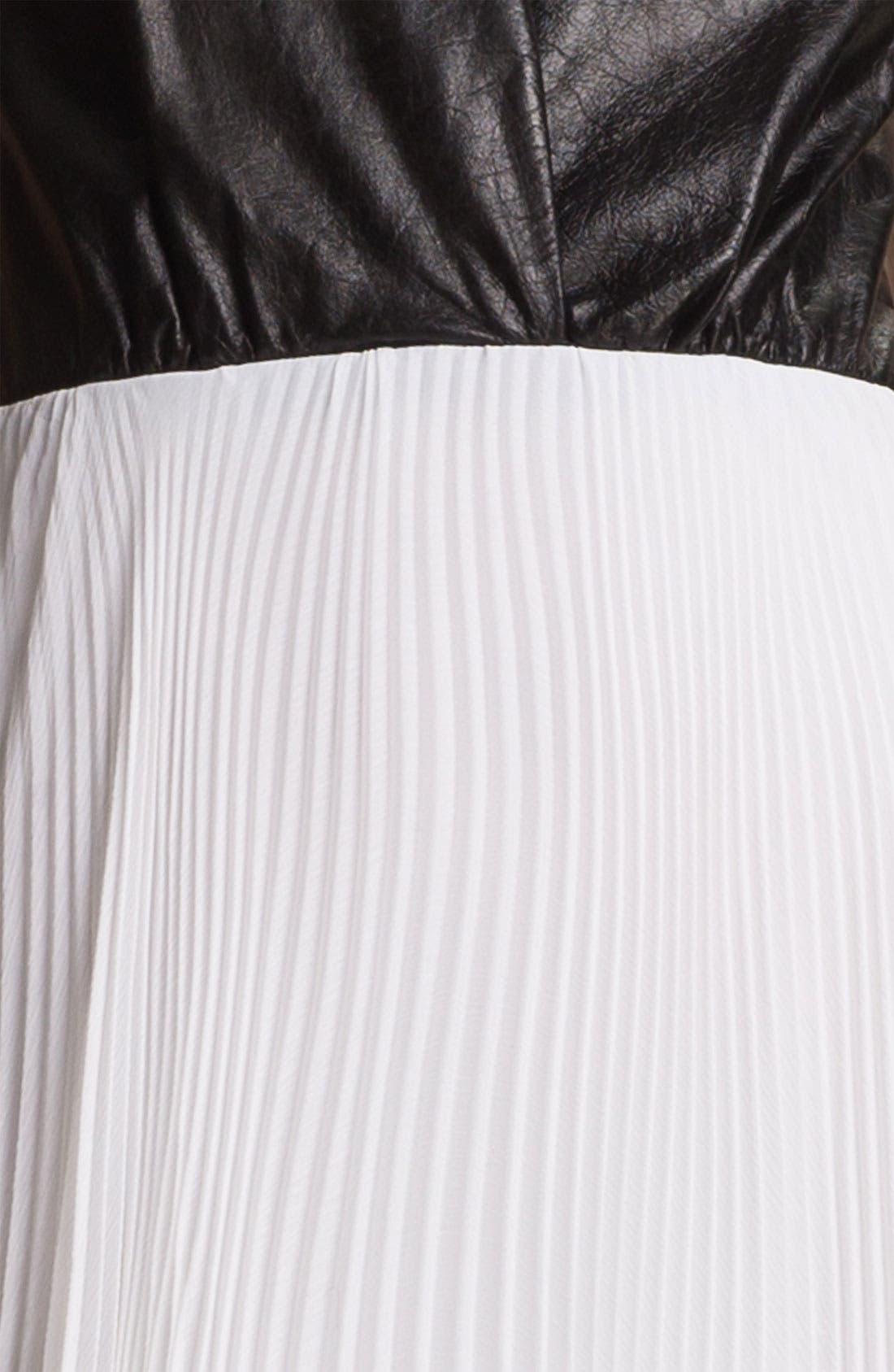 ALICE + OLIVIA,                             Leather Bodice & Chiffon Dress,                             Alternate thumbnail 2, color,                             009