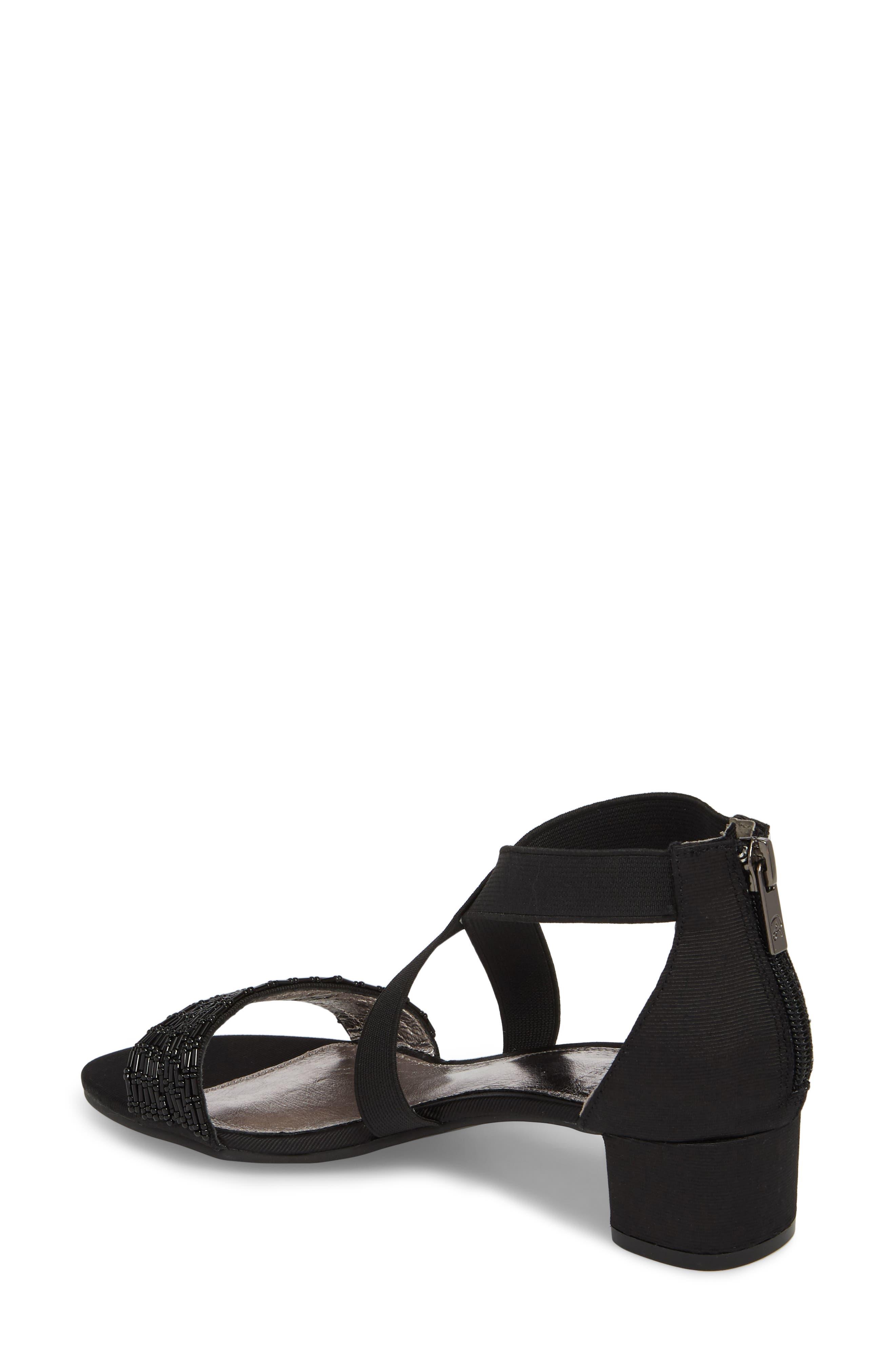 Teagen Block Heel Sandal,                             Alternate thumbnail 2, color,                             BLACK FABRIC