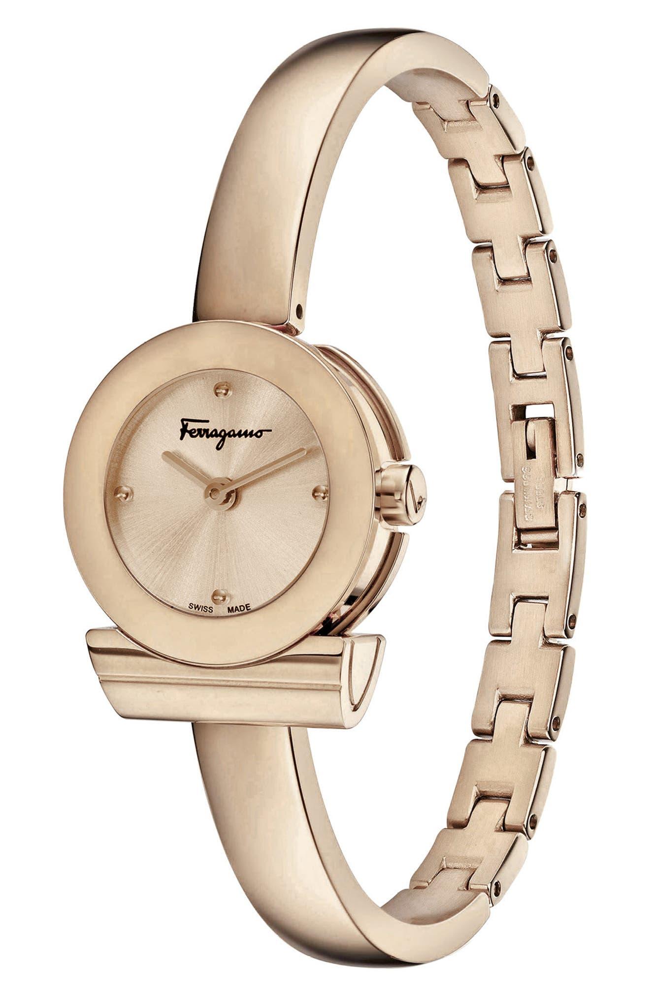 Gancino Bracelet Watch, 22.5mm,                             Alternate thumbnail 3, color,                             ROSE GOLD