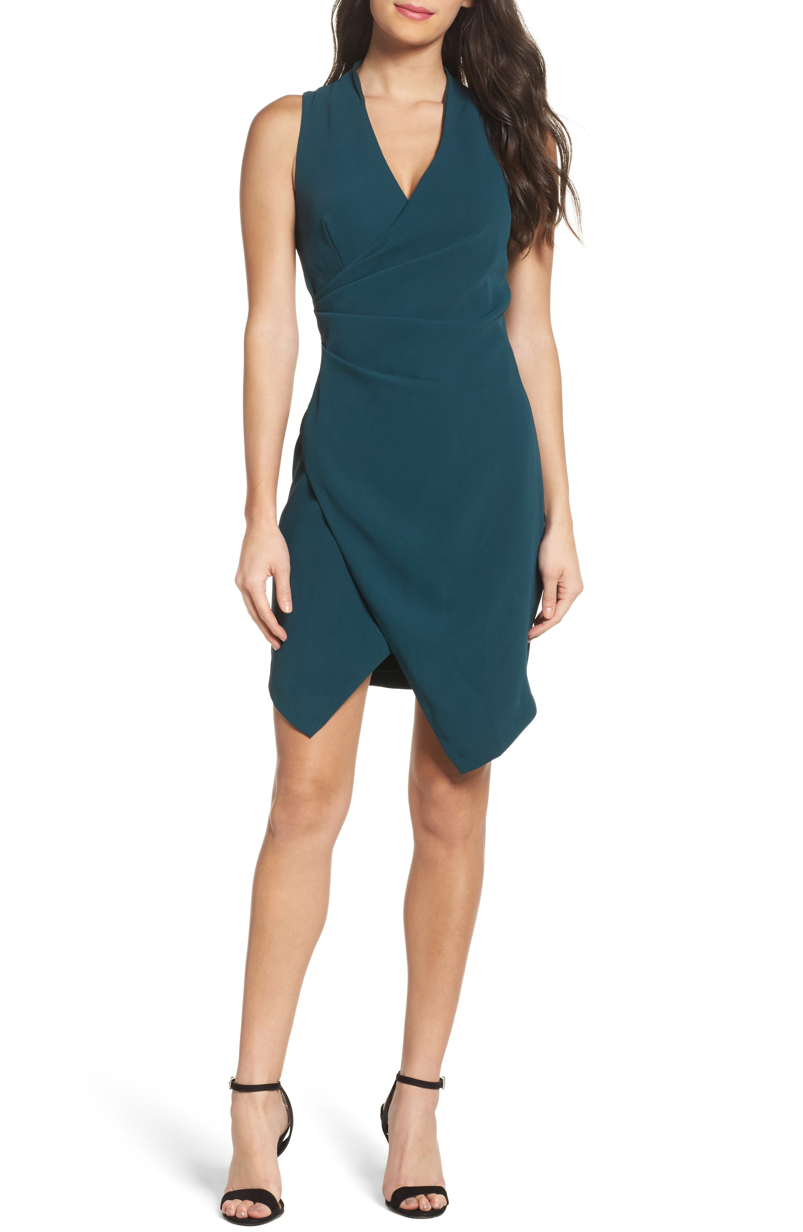 Teri Faux Wrap Sheath Dress,                         Main,                         color, 401