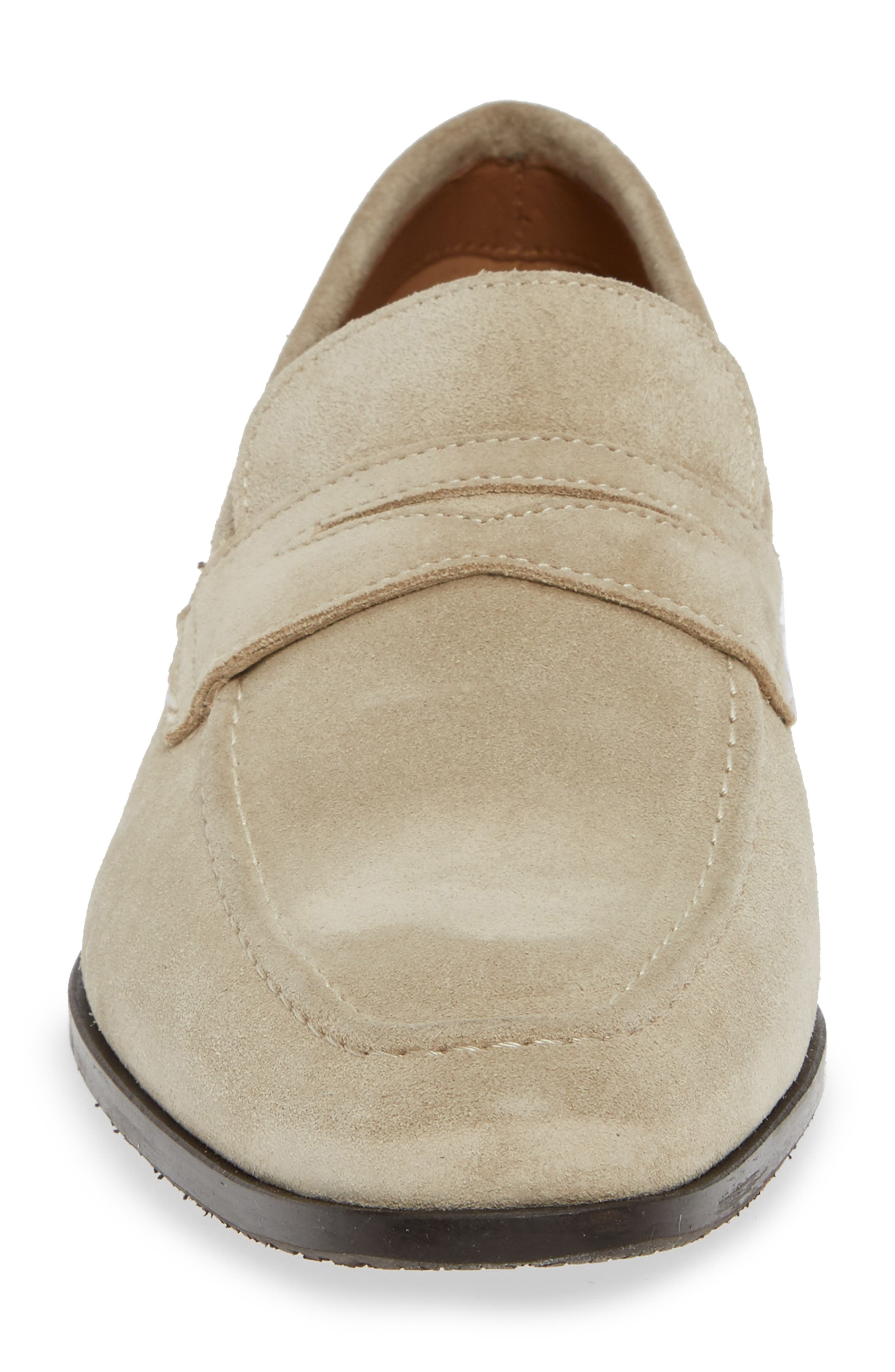 Nicasio Apron Toe Penny Loafer,                             Alternate thumbnail 4, color,                             SAND SUEDE