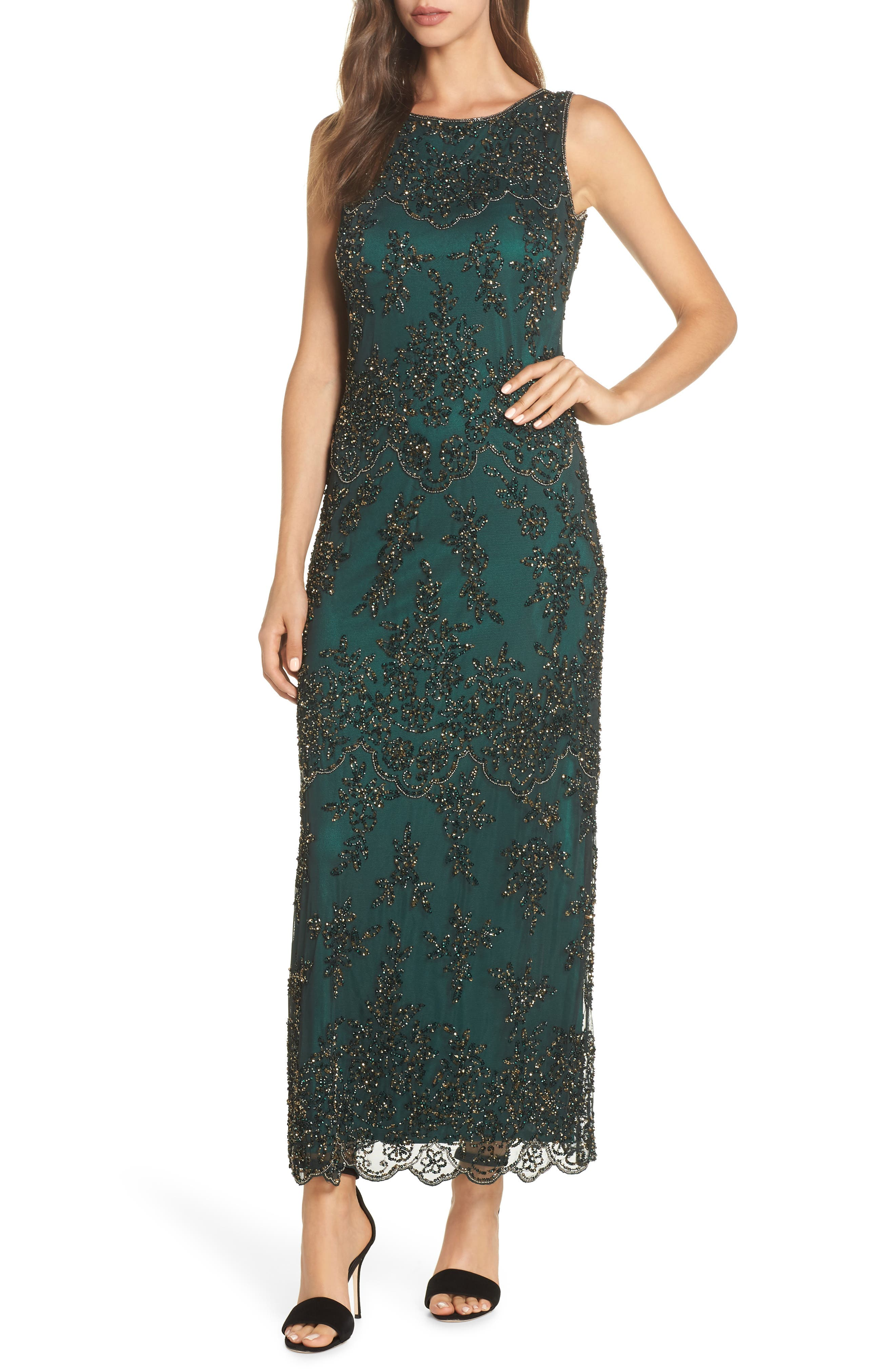 Embellished Mesh Gown,                             Main thumbnail 1, color,                             HUNTER