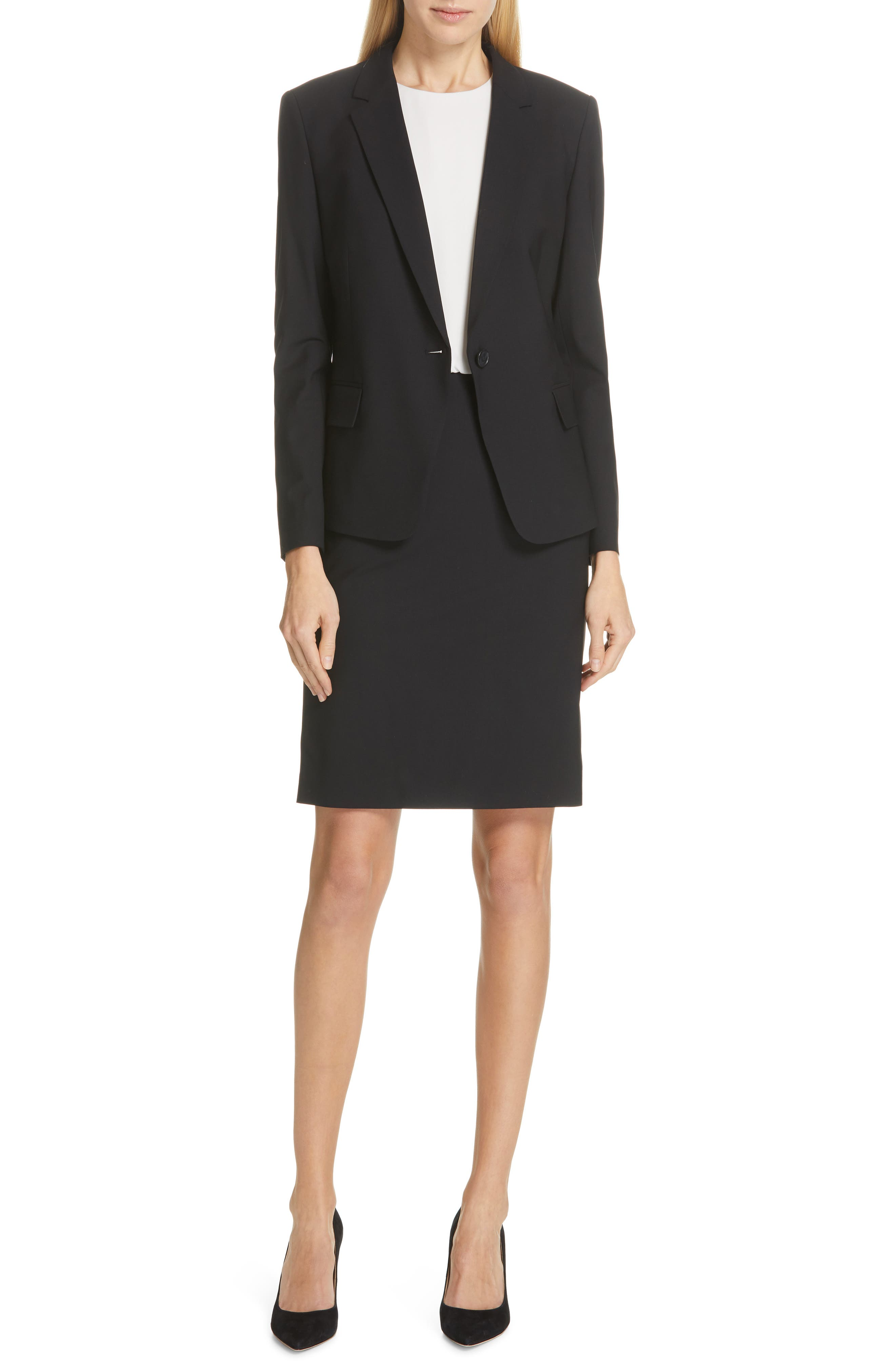 BOSS,                             Jaela Stretch Wool Suit Jacket,                             Alternate thumbnail 7, color,                             BLACK