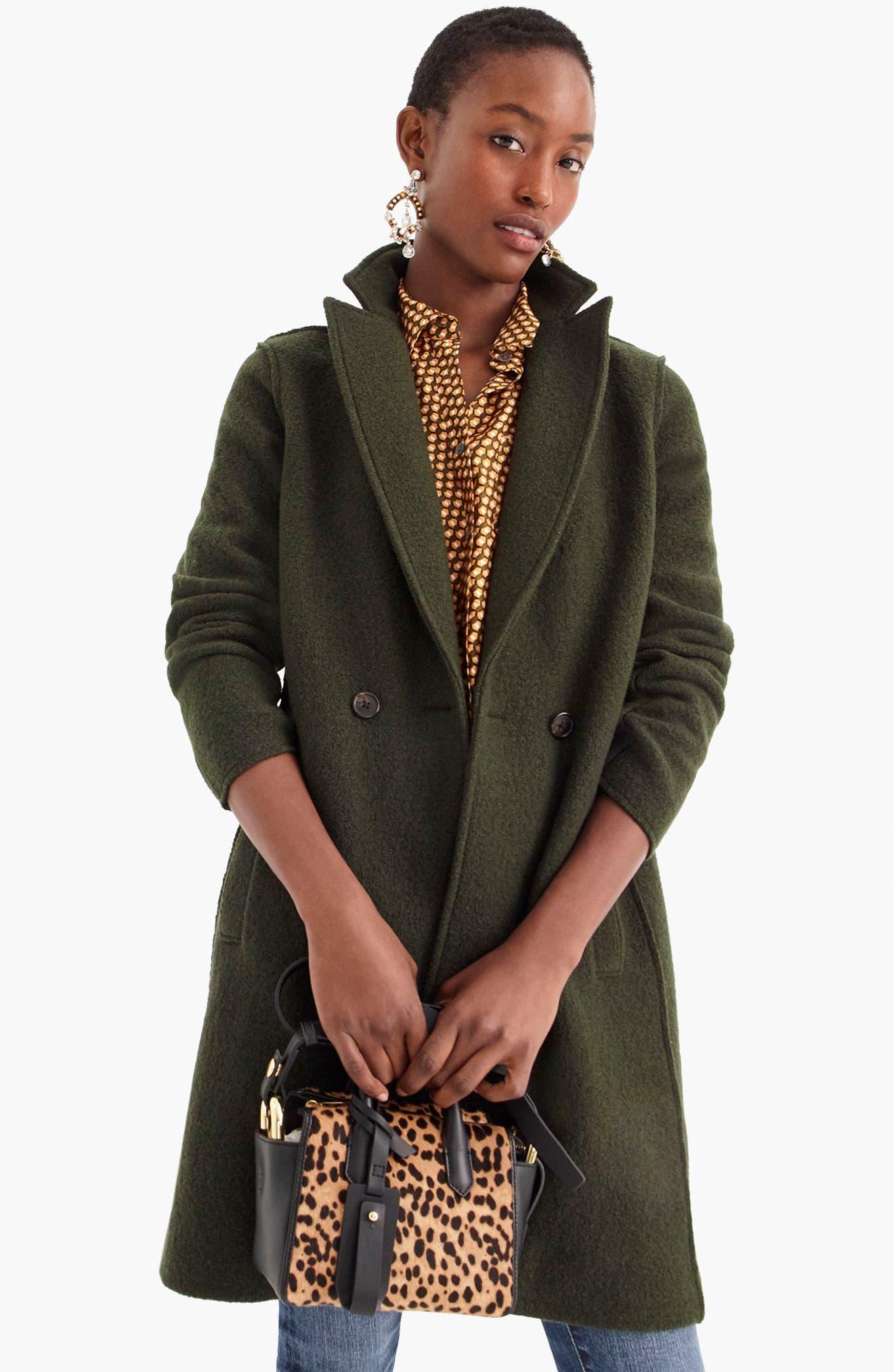 J.CREW,                             Daphne Boiled Wool Topcoat,                             Alternate thumbnail 7, color,                             301